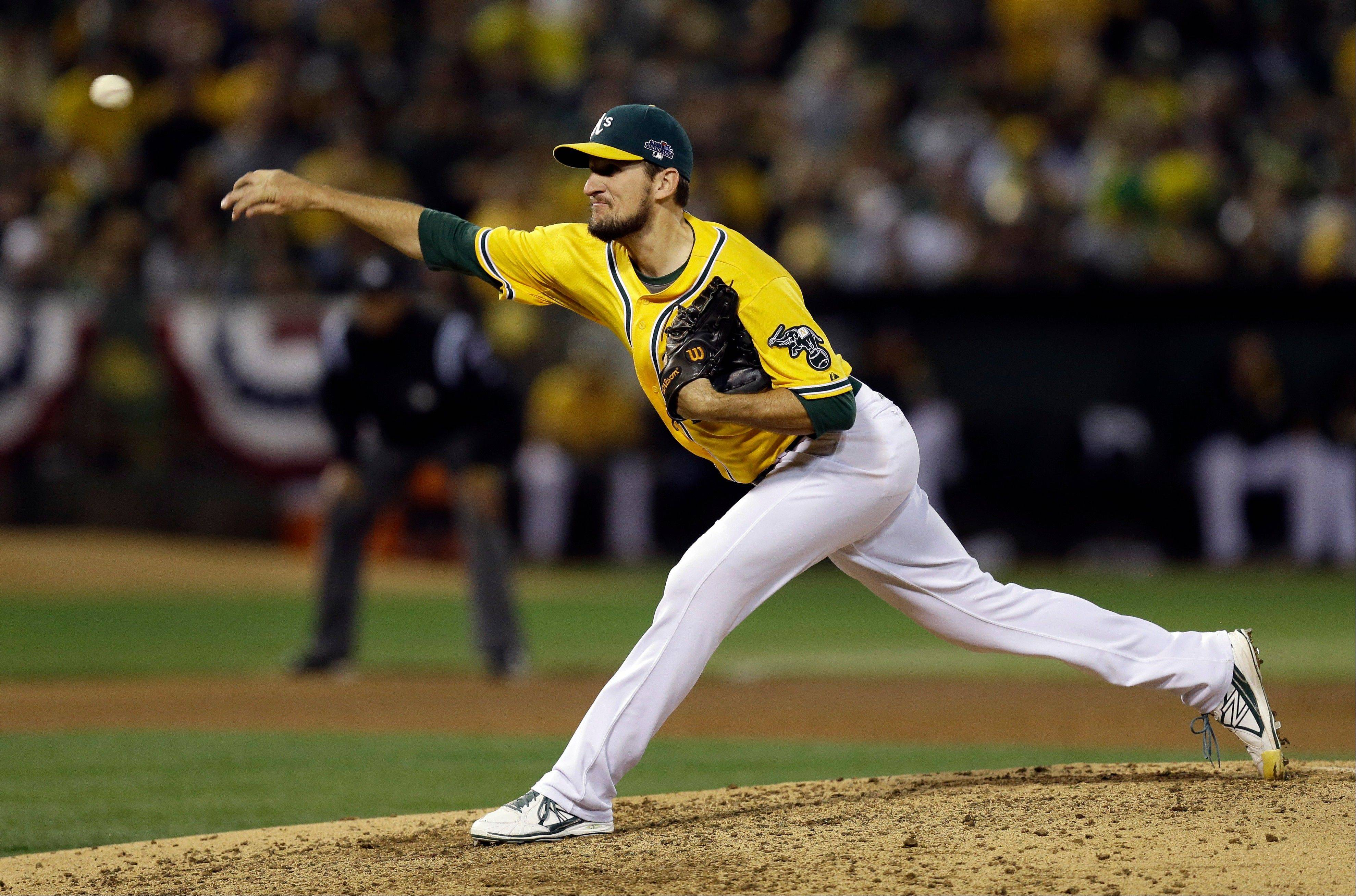 Oakland relief pitcher Dan Otero delivers in the seventh inning of Game 5 Thursday at home.