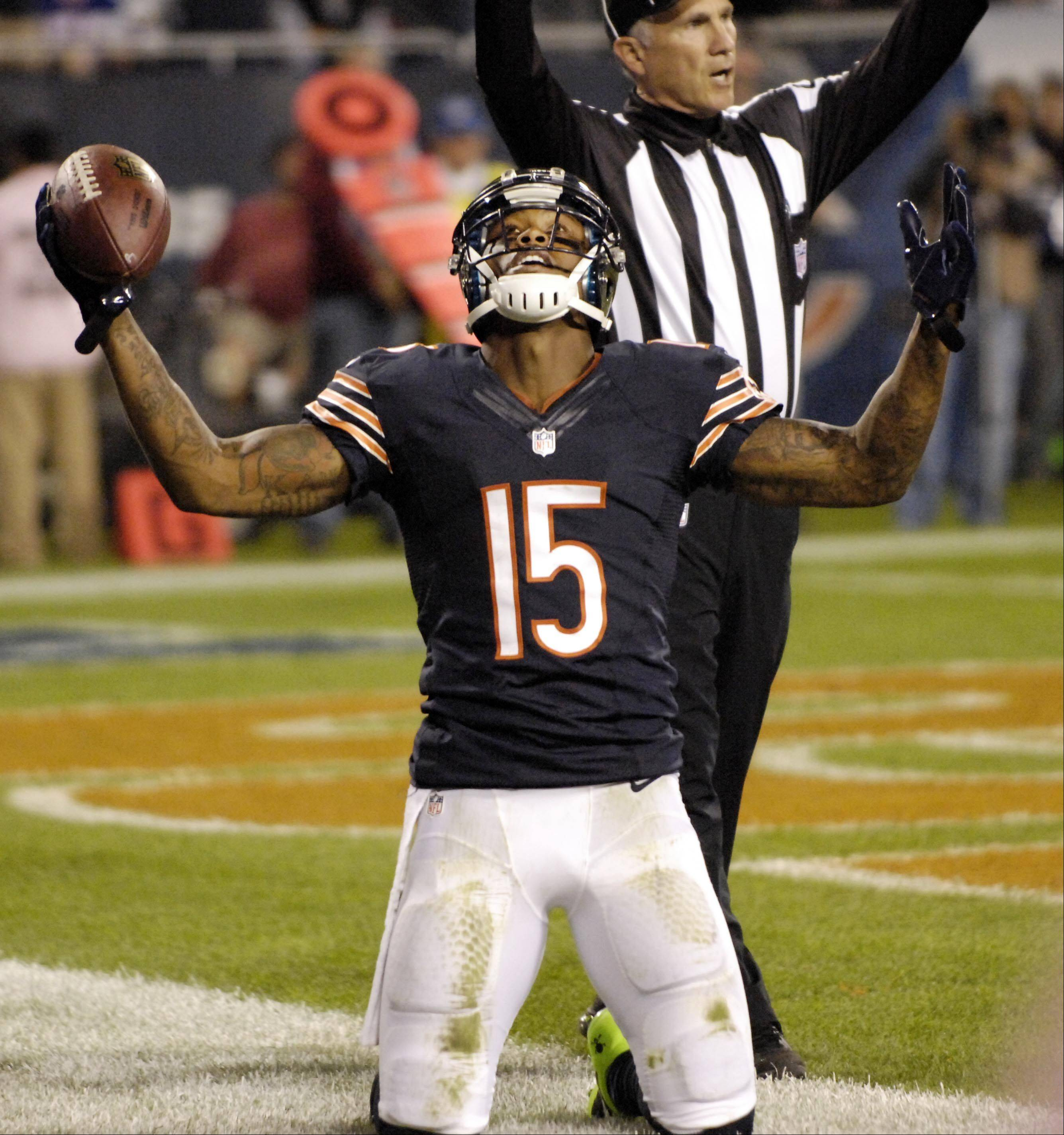 Chicago Bears wide receiver Brandon Marshall celebrates his first touchdown catch of the night.