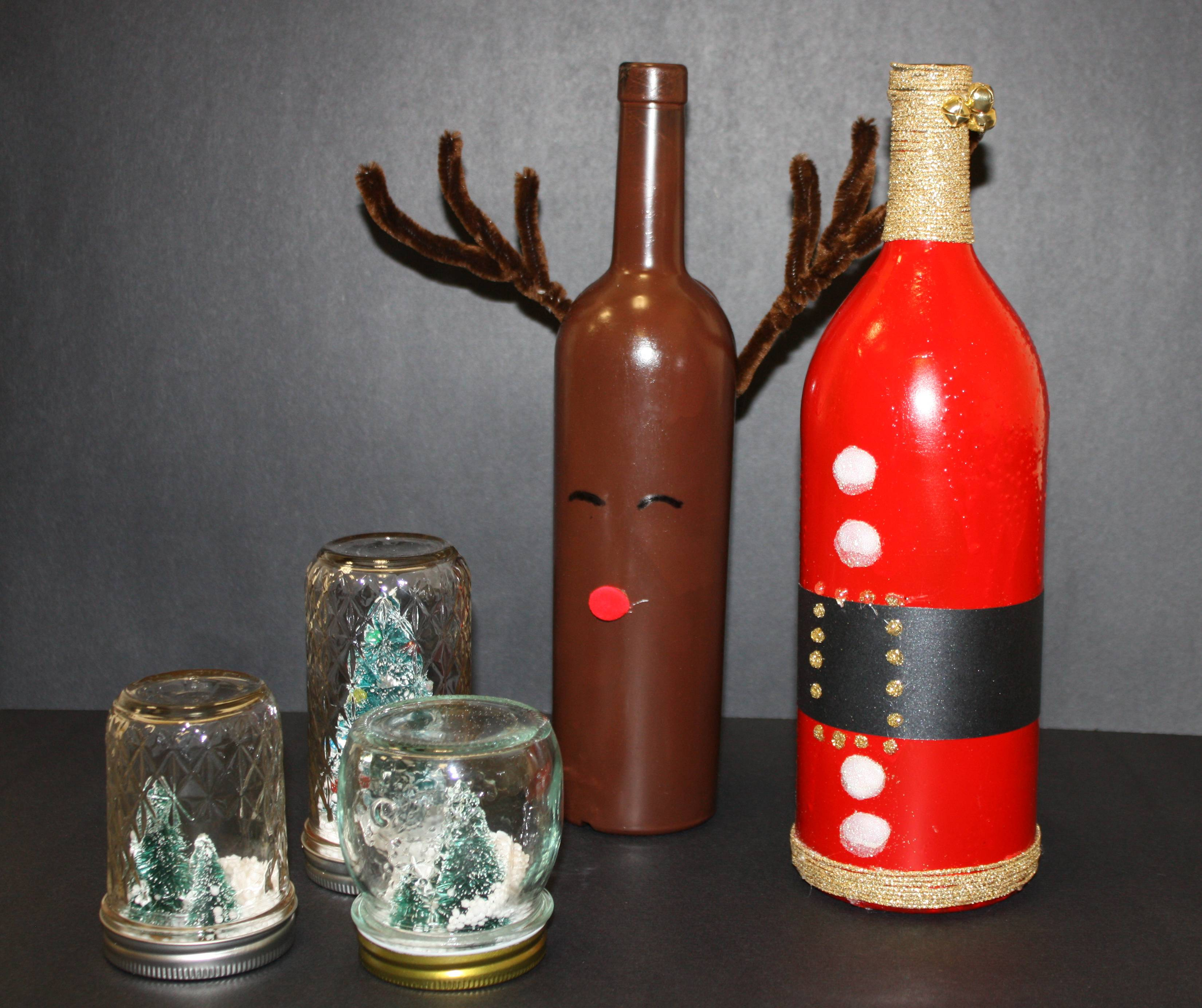 November's classes include decorated wine bottles and mason jar snow globes.