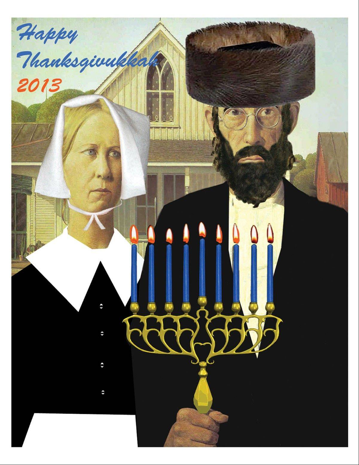 This American Gothic Thanksgivukkah Poster celebrates Thanksgiving and Hanukkah.