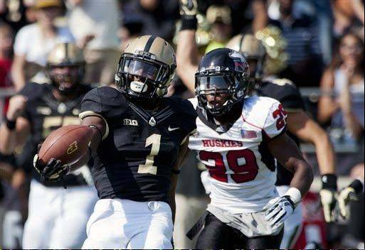 Purdue�s Akeem Hunt stretches the ball out as he crosses into the end zone for a touchdown against Northern Illinois during a Sept. 28 game in West Lafayette, Ind. Purdue has the league�s third-worst rushing defense at 183.2 yards per game.