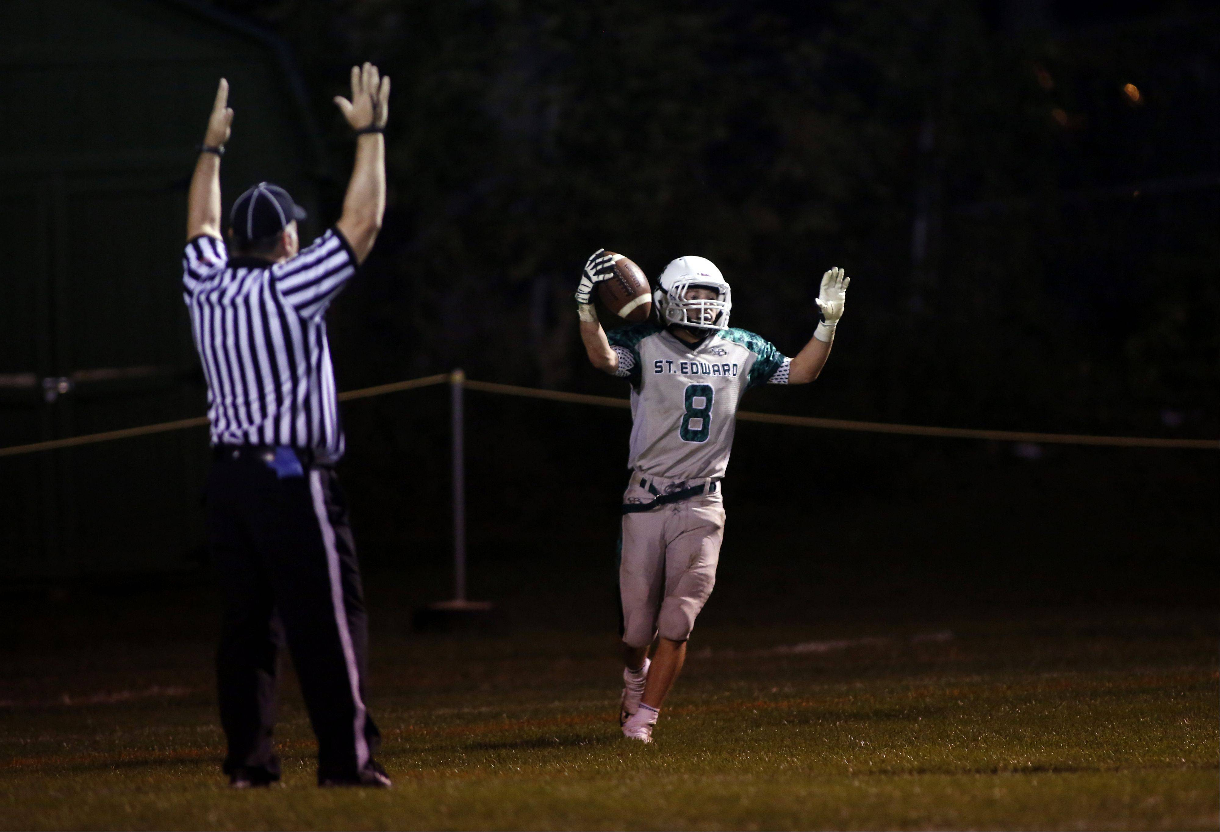 St. Edward�s Michael Castoro celebrates after his second touchdown of the night.