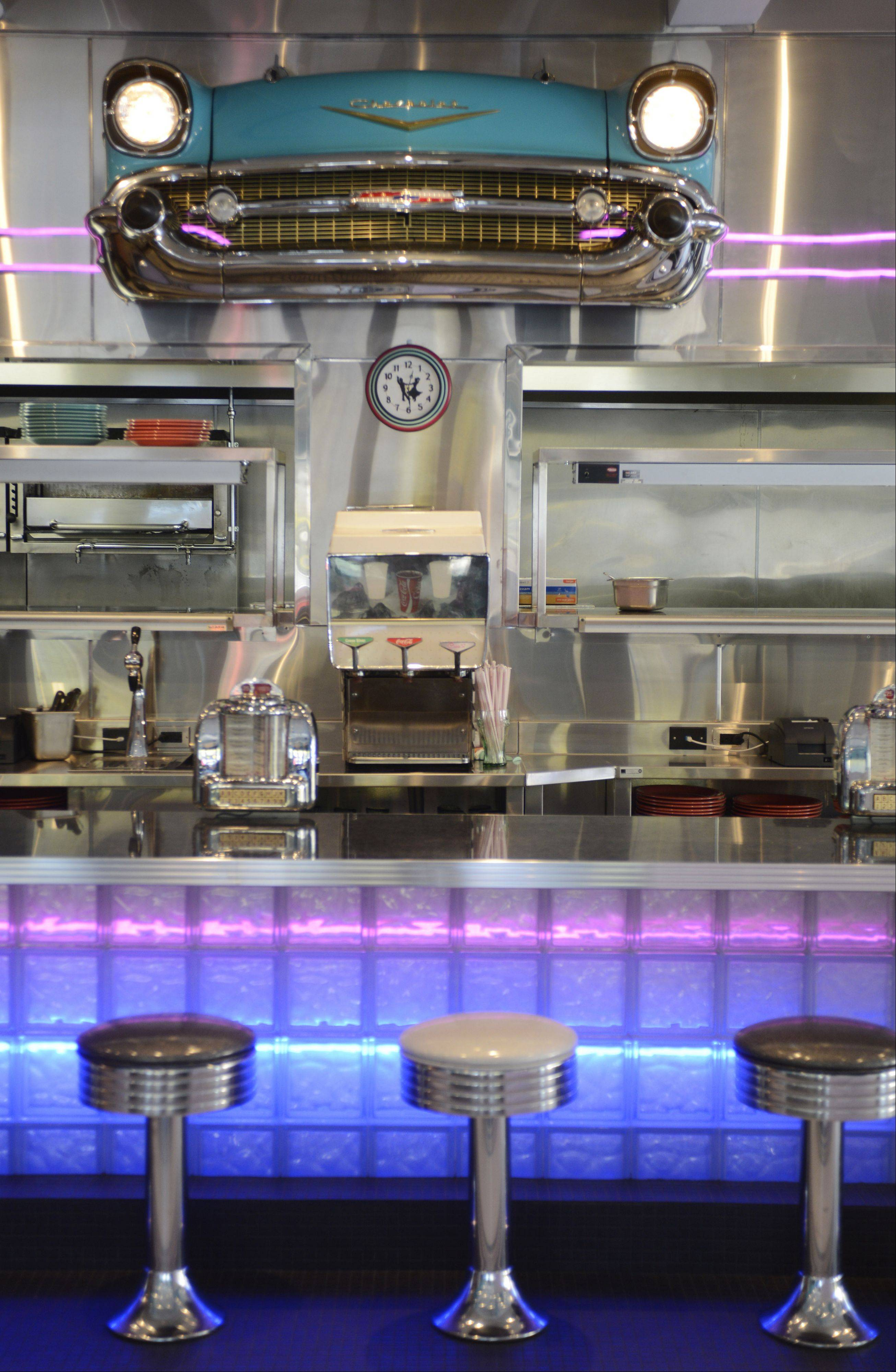 The grill of a Chevy adds to the decor of Circa 57, a 1950s-themed restaurant set to open Oct. 17 in downtown Arlington Heights.