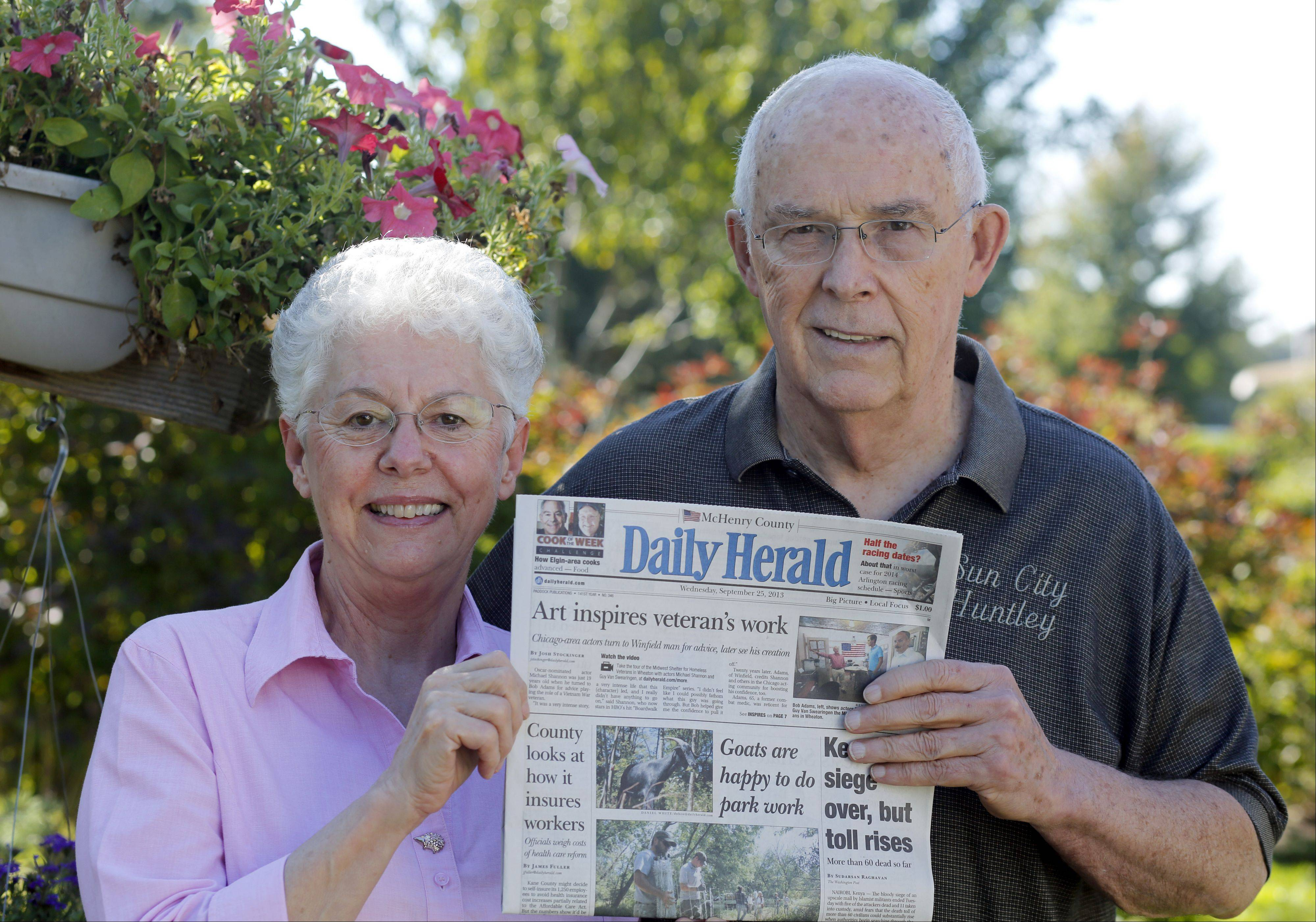 James and Gloria Lunn, of Huntley, with a copy of their subscription.