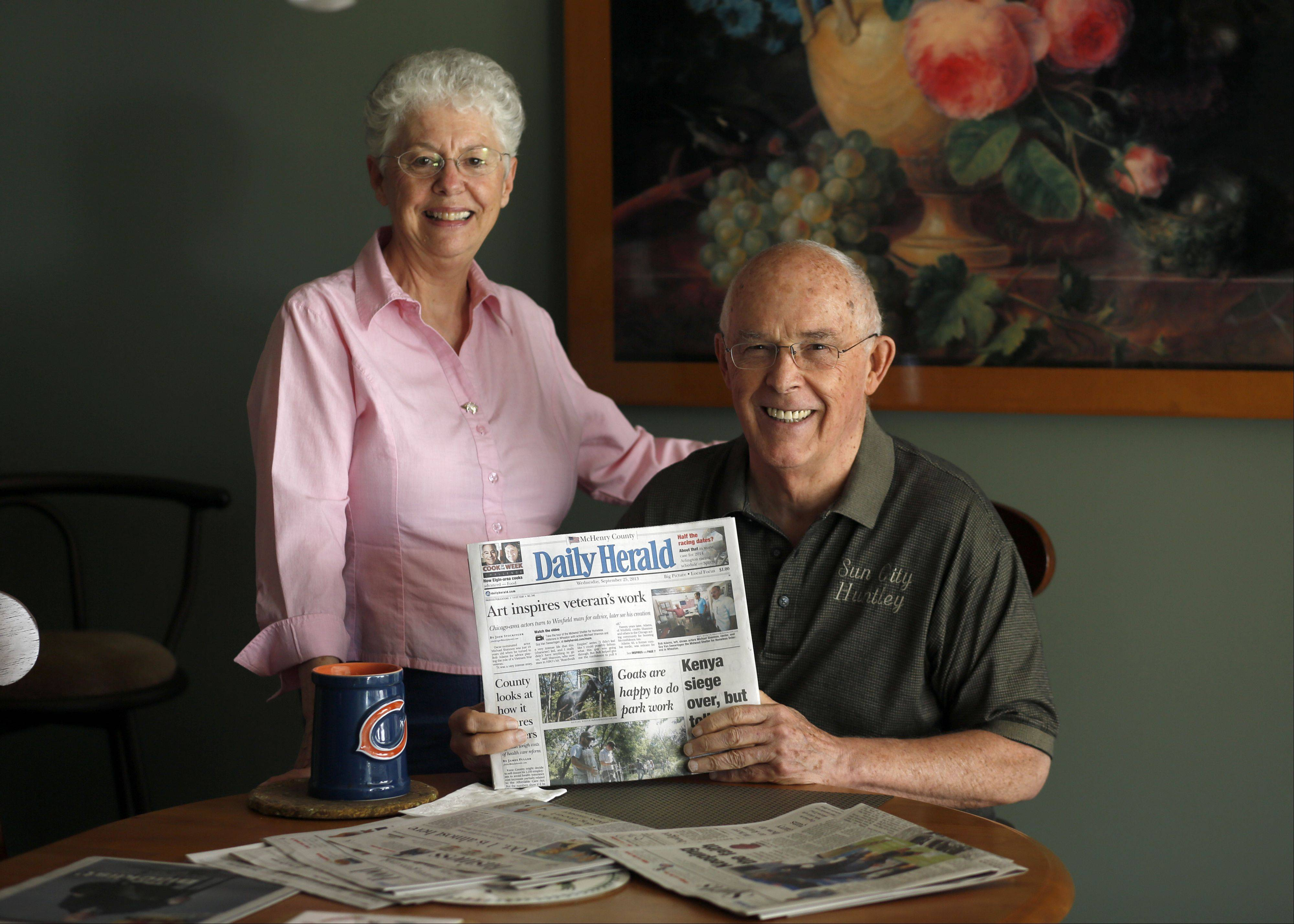 James and Gloria Lunn, of Huntley, with a copy of their Daily Herald subscription.