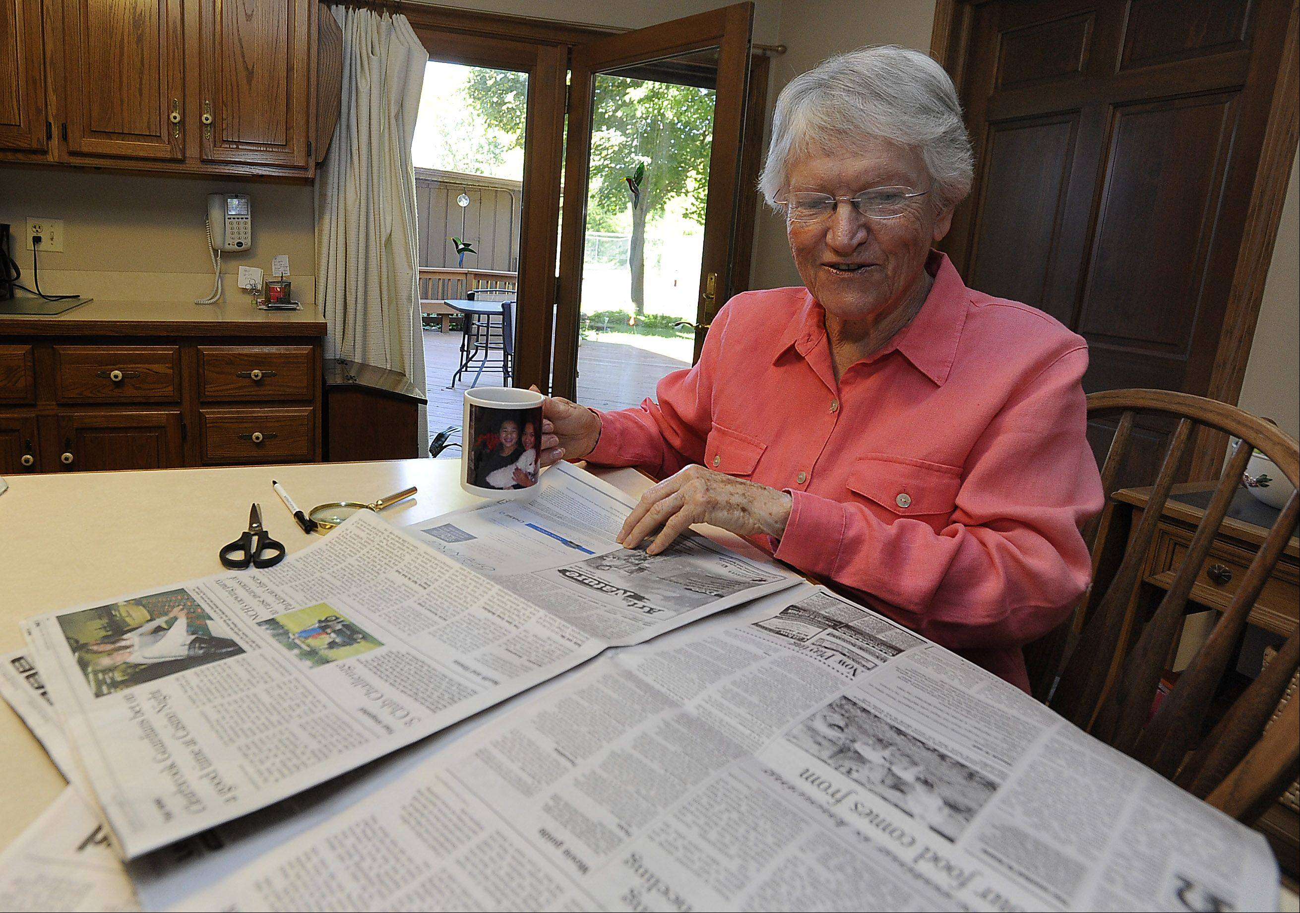 Annette Hayley of Palatine sits down in the morning with her cup of coffee and reads the Neighbor section of the Daily Herald, her favorite section. She has been a loyal reader since 1965.