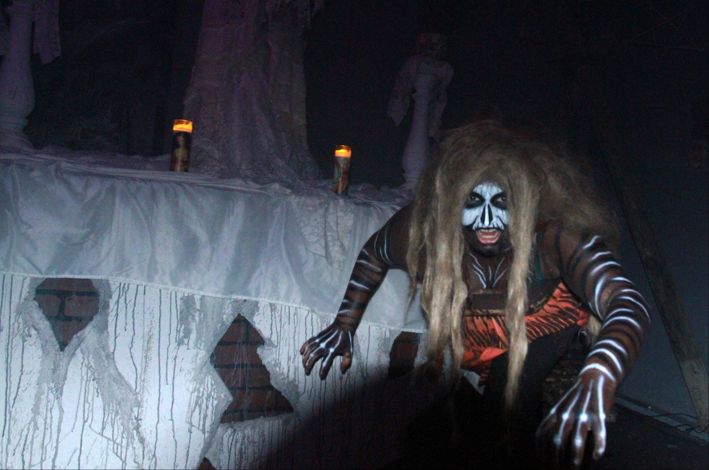 A voodoo high priestess (played by Natalie Barrientos) haunts CarnEvil at the Sears Centre in Hoffman Estates.