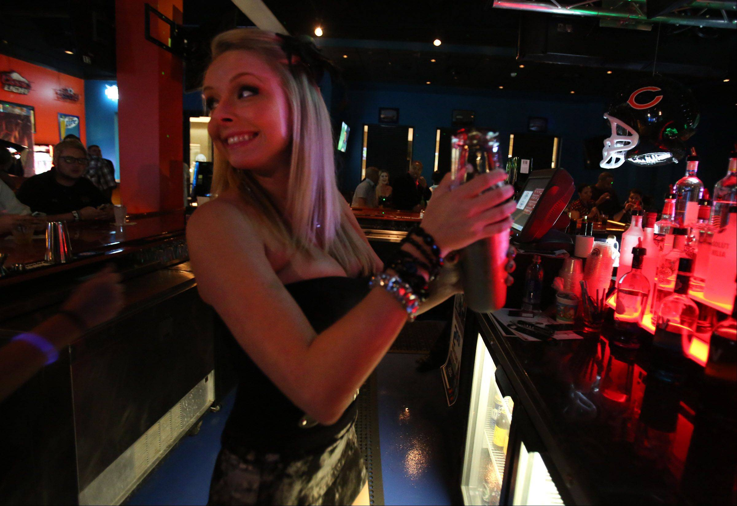 Bartender Heather Smith shakes up a Nasty Nautical at All Stars On Board in Vernon Hills.