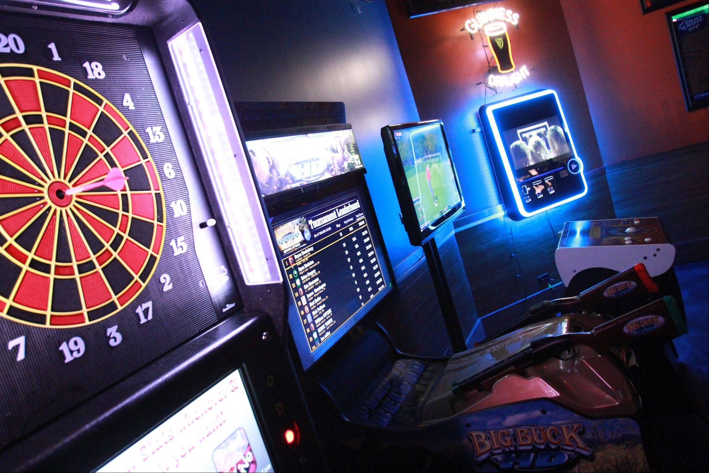 Games surround patrons at All Stars On Board.