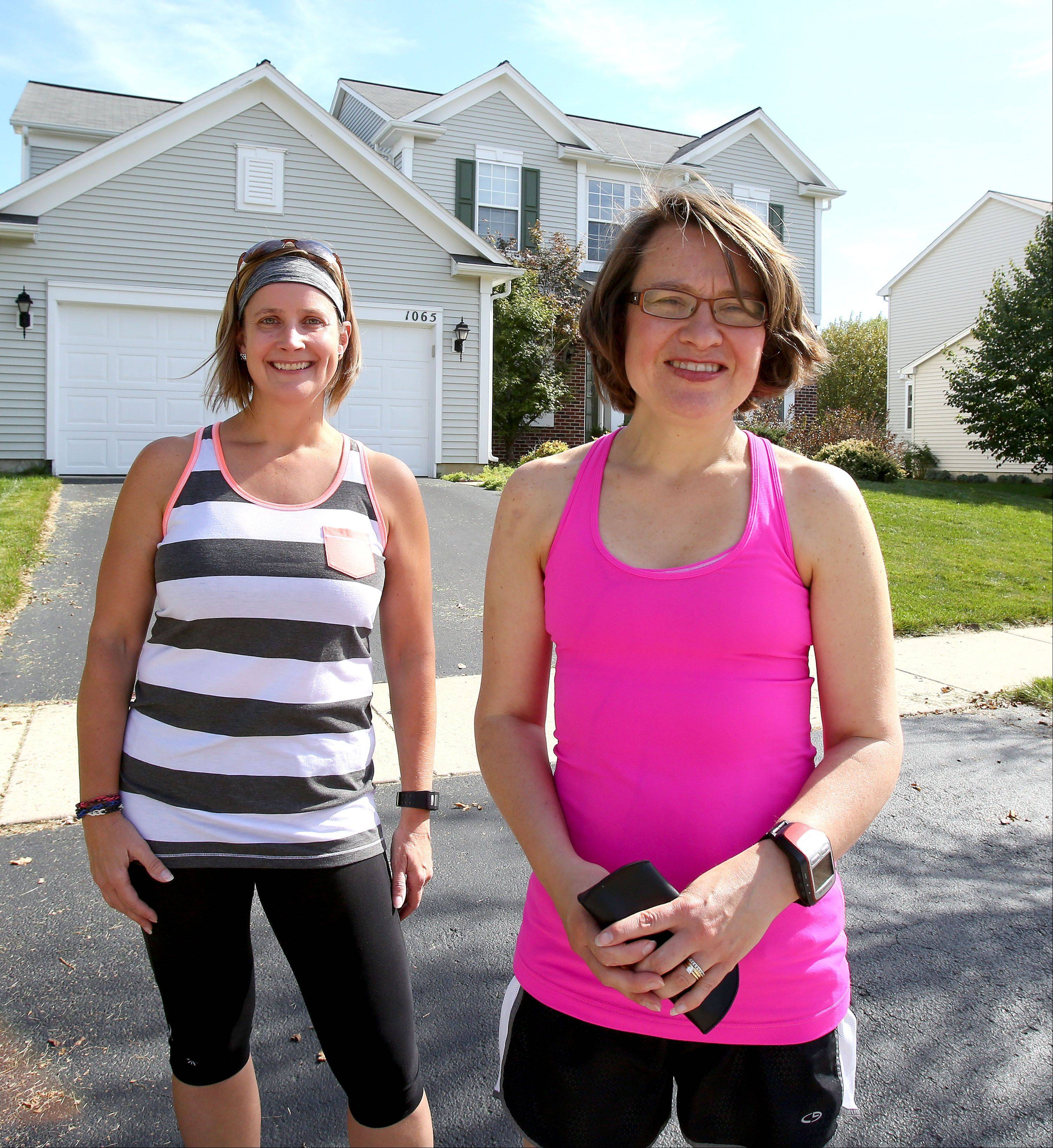 Marathon runners Danielle Steimel and Carrie Gasik, both of Aurora, will be running in the Chicago Marathon on Sunday. This will be the first marathon for Gasik and the 18th for Steimel.