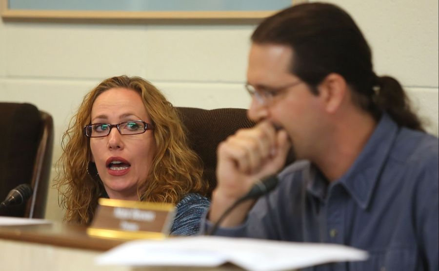 Island Lake Trustee Shannon Fox responds to comments by Trustee Mark Beeson at Thursday's village board meeting.
