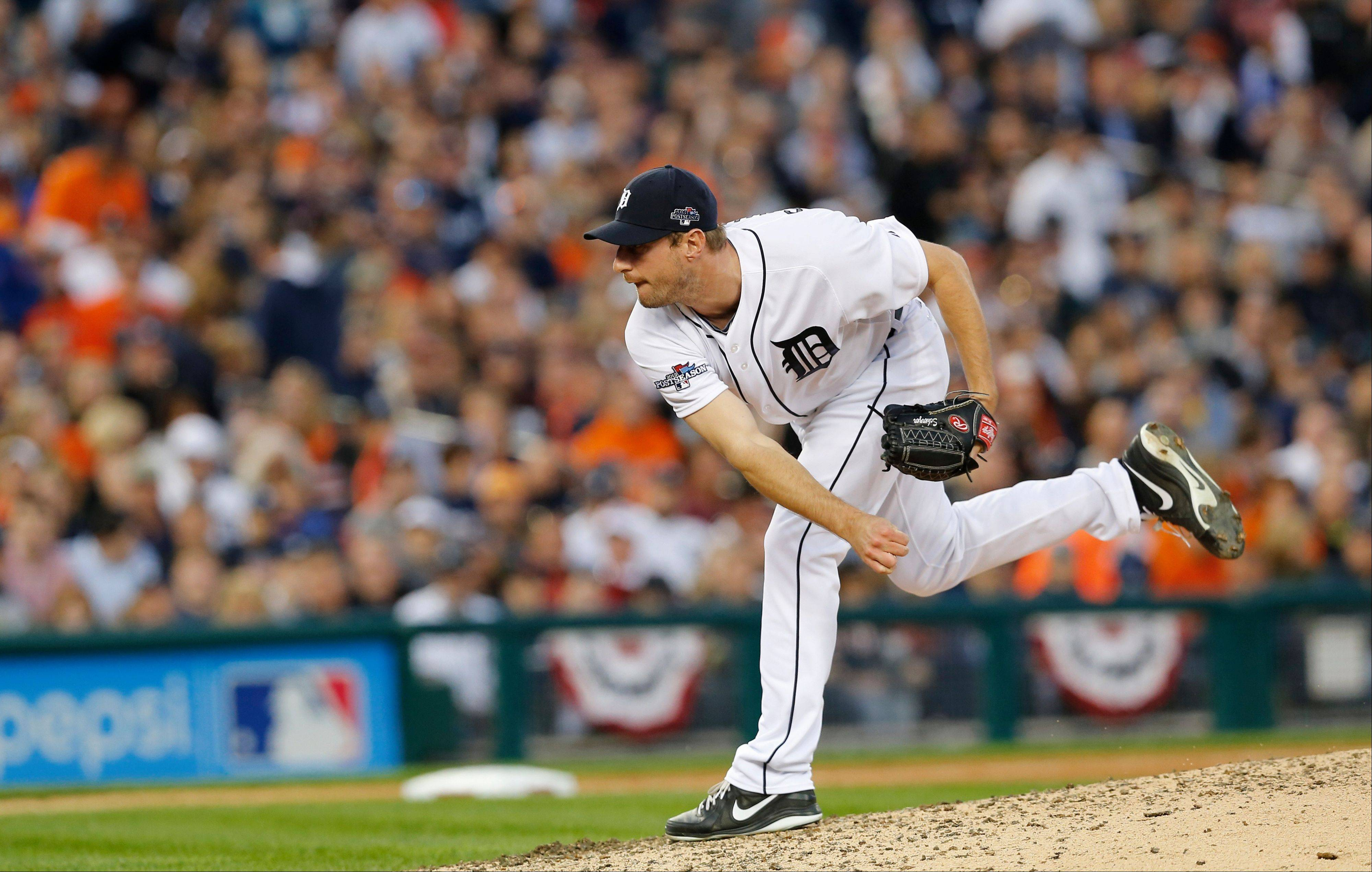 Tigers pitcher Max Scherzer follows through during the seventh inning of Game 4 of the division series against the Oakland Athletics. Scherzer will start in Game 2 of the ALCS against Boston.