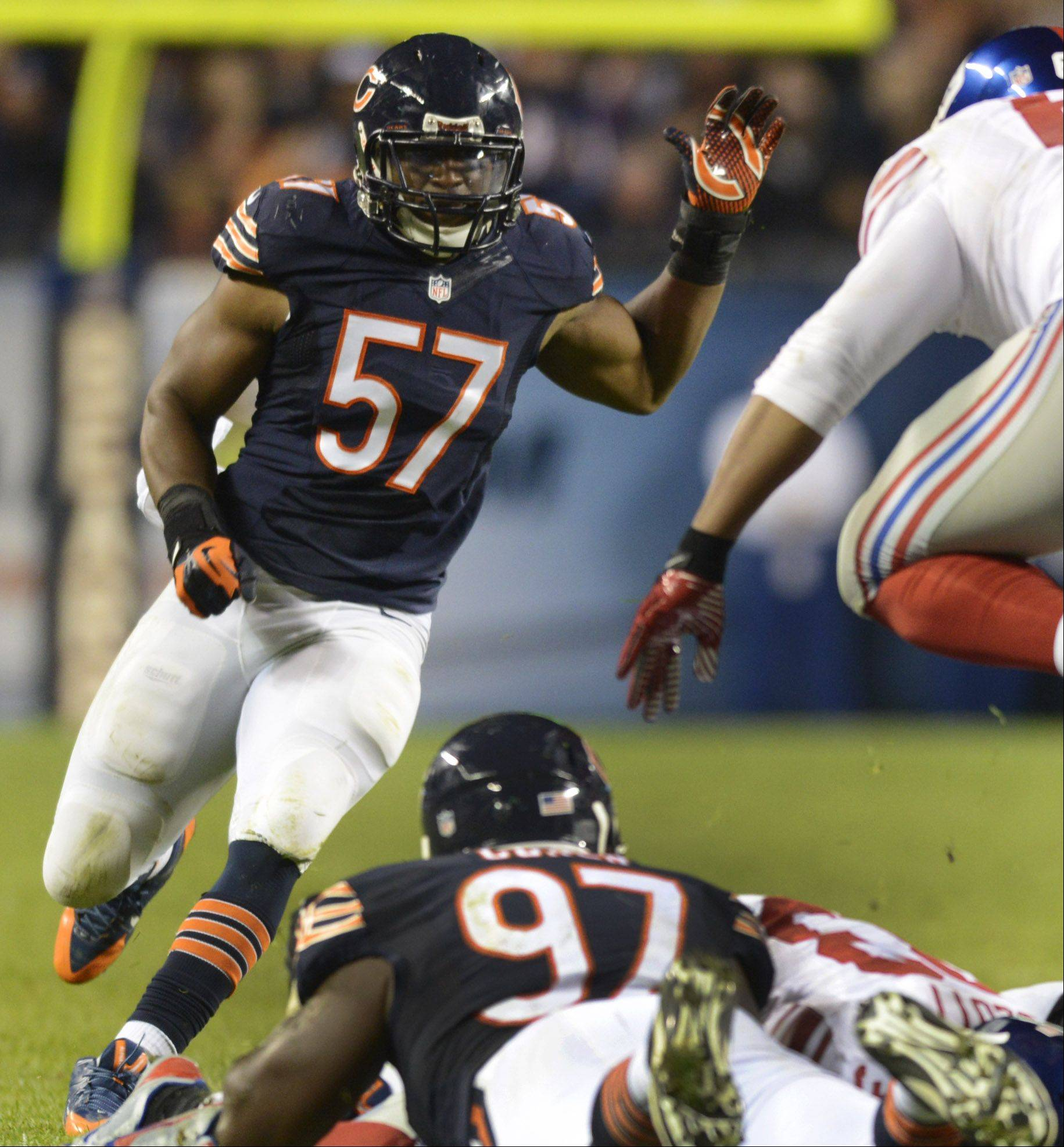 Rookie linebacker Jon Bostic (57) was pressed into duty Thursday against the New York Giants after D.J. Williams was injured. Bostic, who had been relegated to special teams, will inherit the starting job at middle linebacker now that Williams is out for the season.