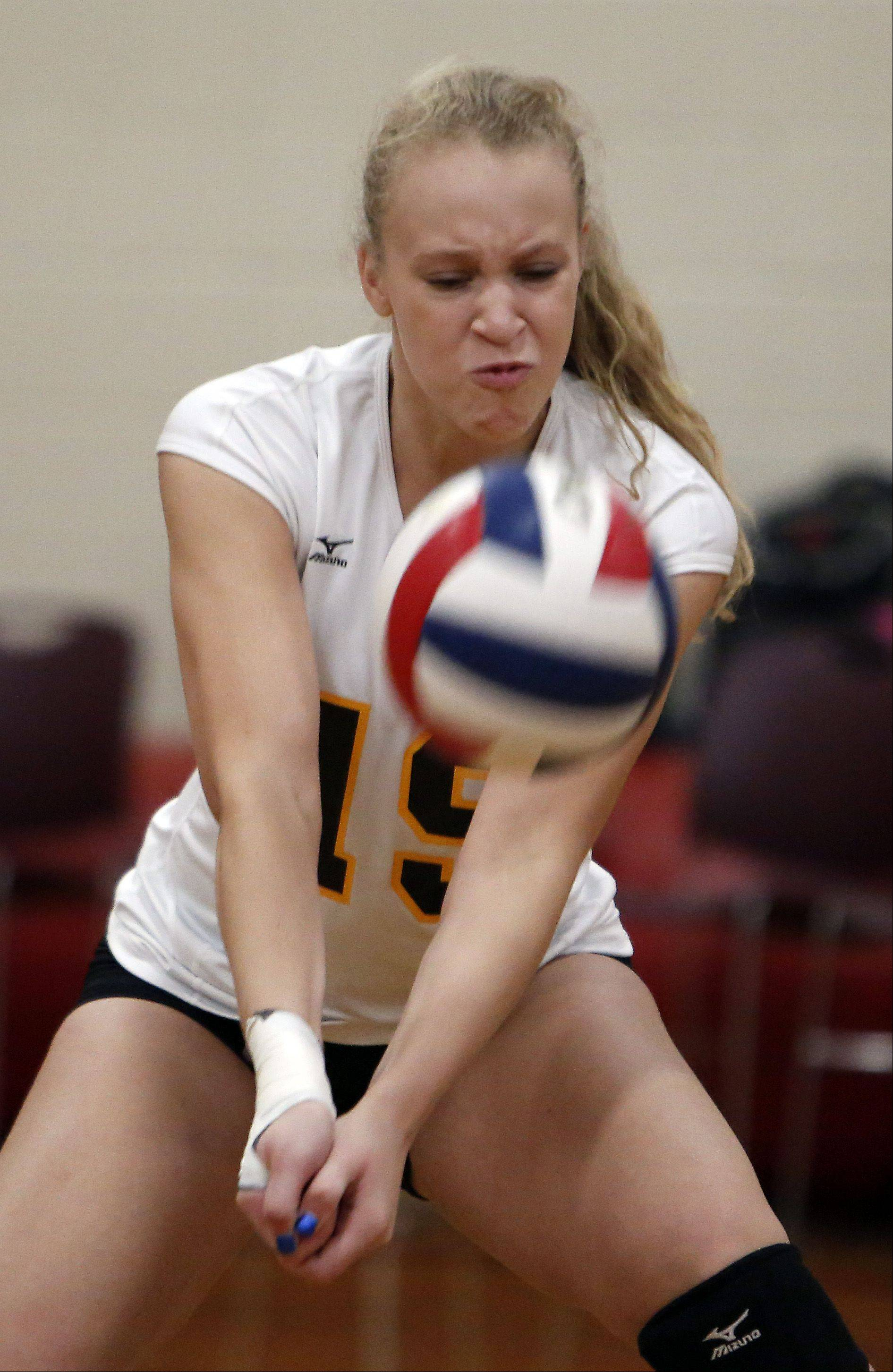 Jacobs' Kyla Fitzsimmons with the dig against St. Edward during the 29th Annual Huntley High School Volleyball Tournament Saturday.