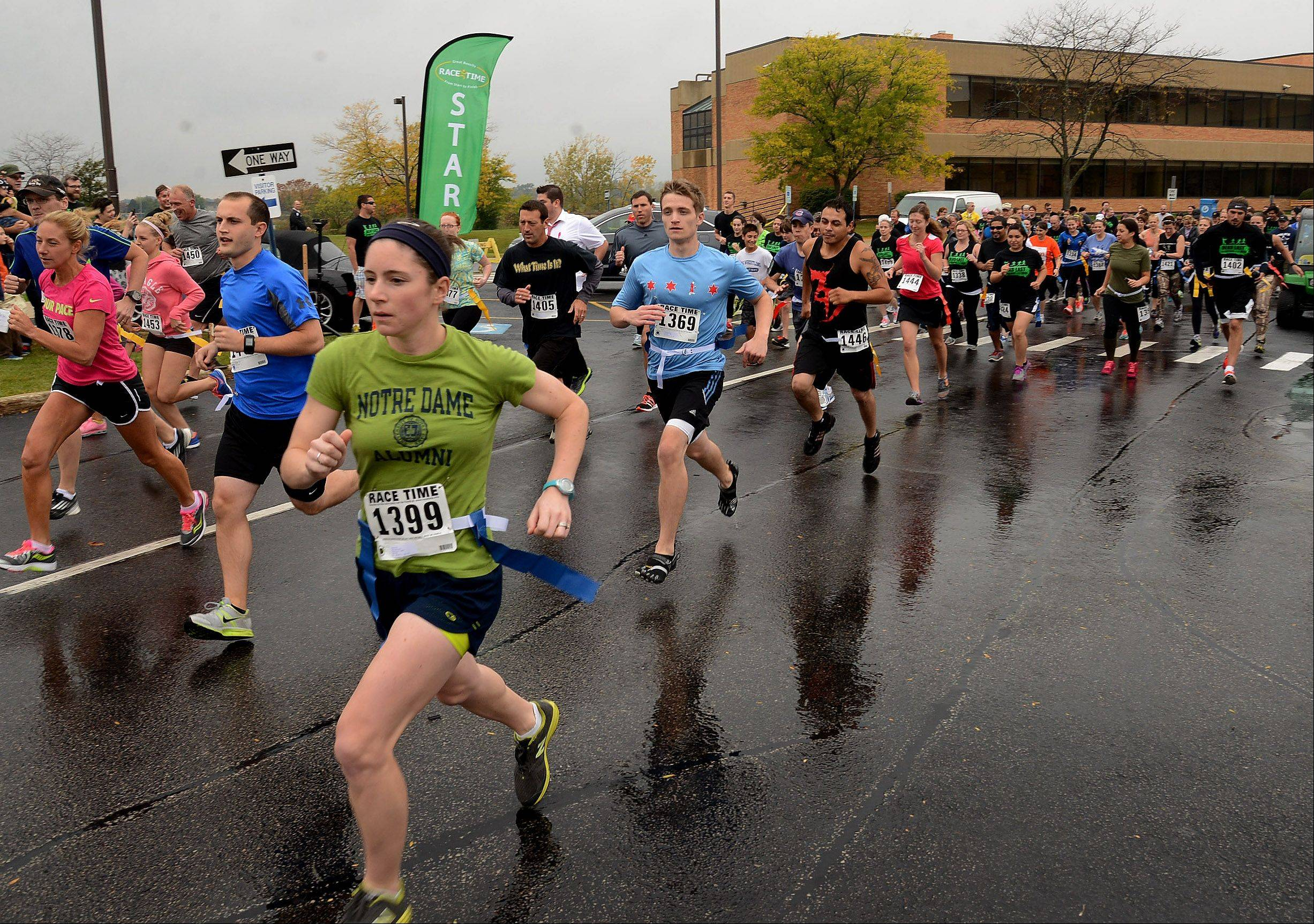 The start of Grayslake's inaugural zombie run on Saturday.