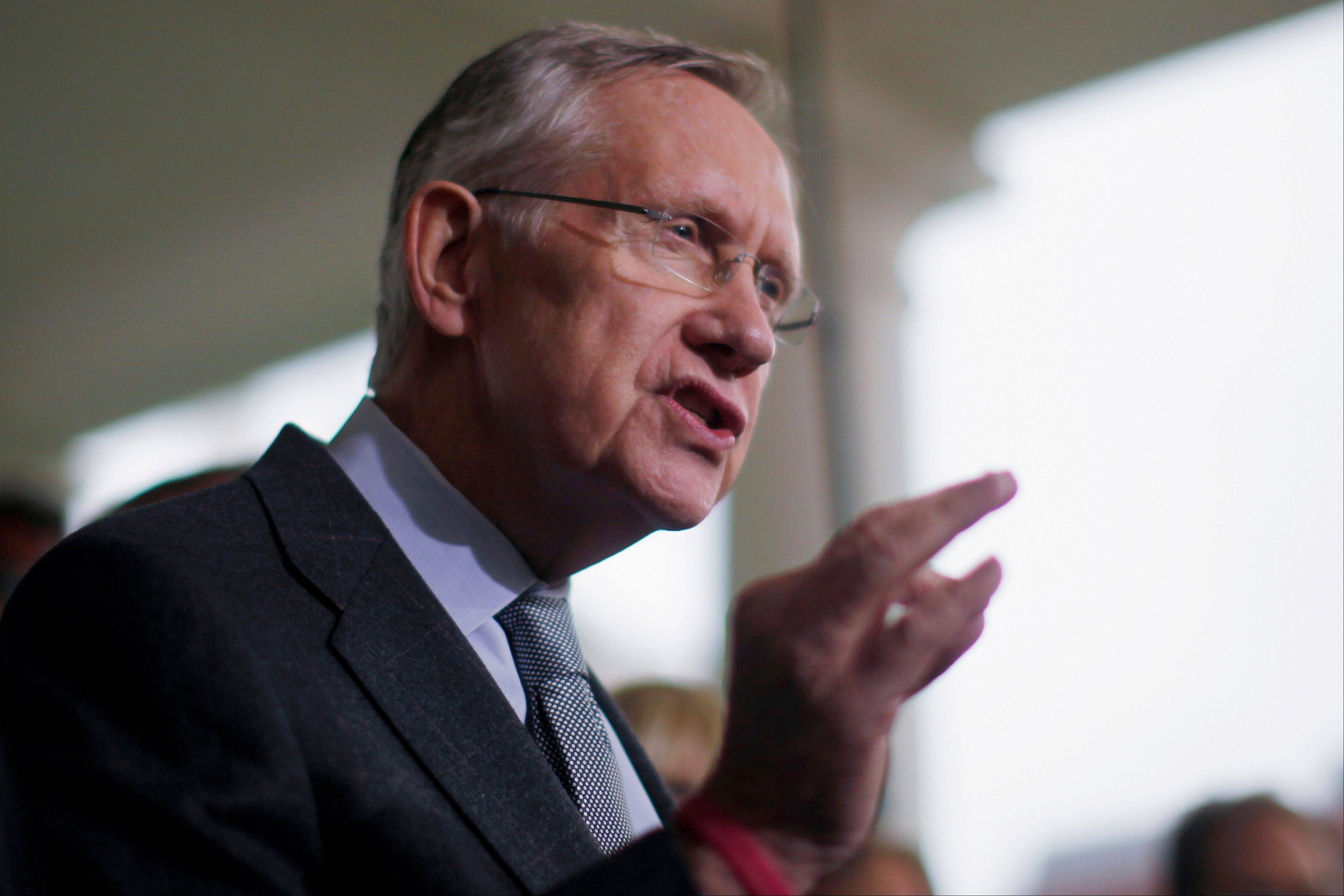 Senate Majority Leader Harry Reid of Nevada speaks to reporters Thursday outside the White House.