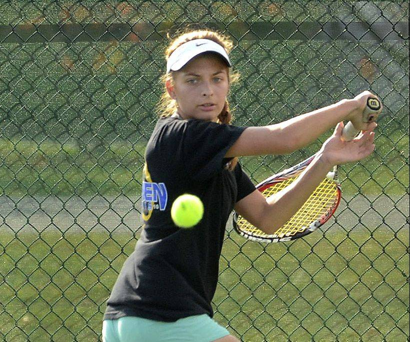 Karyna Bihel of Warren finished second to Lake Forest's Elizabeth Zordani during the North Suburban Conference girls tennis tournament at the Vernon Hills Athletic Complex on Saturday.