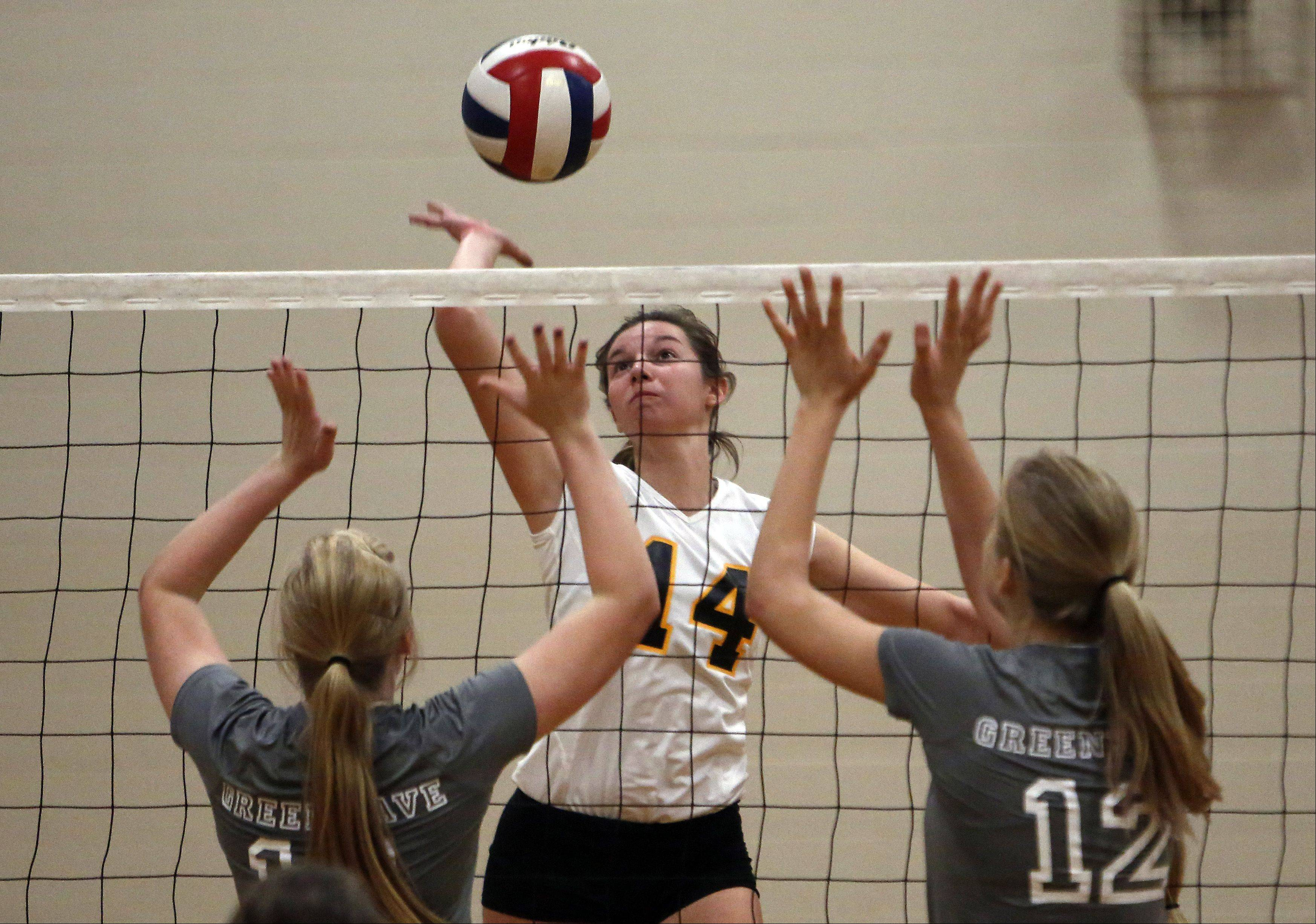 Jacobs' Allie Campbell splits two St. Edward players during the 29th Annual Huntley High School Volleyball Tournament Saturday.