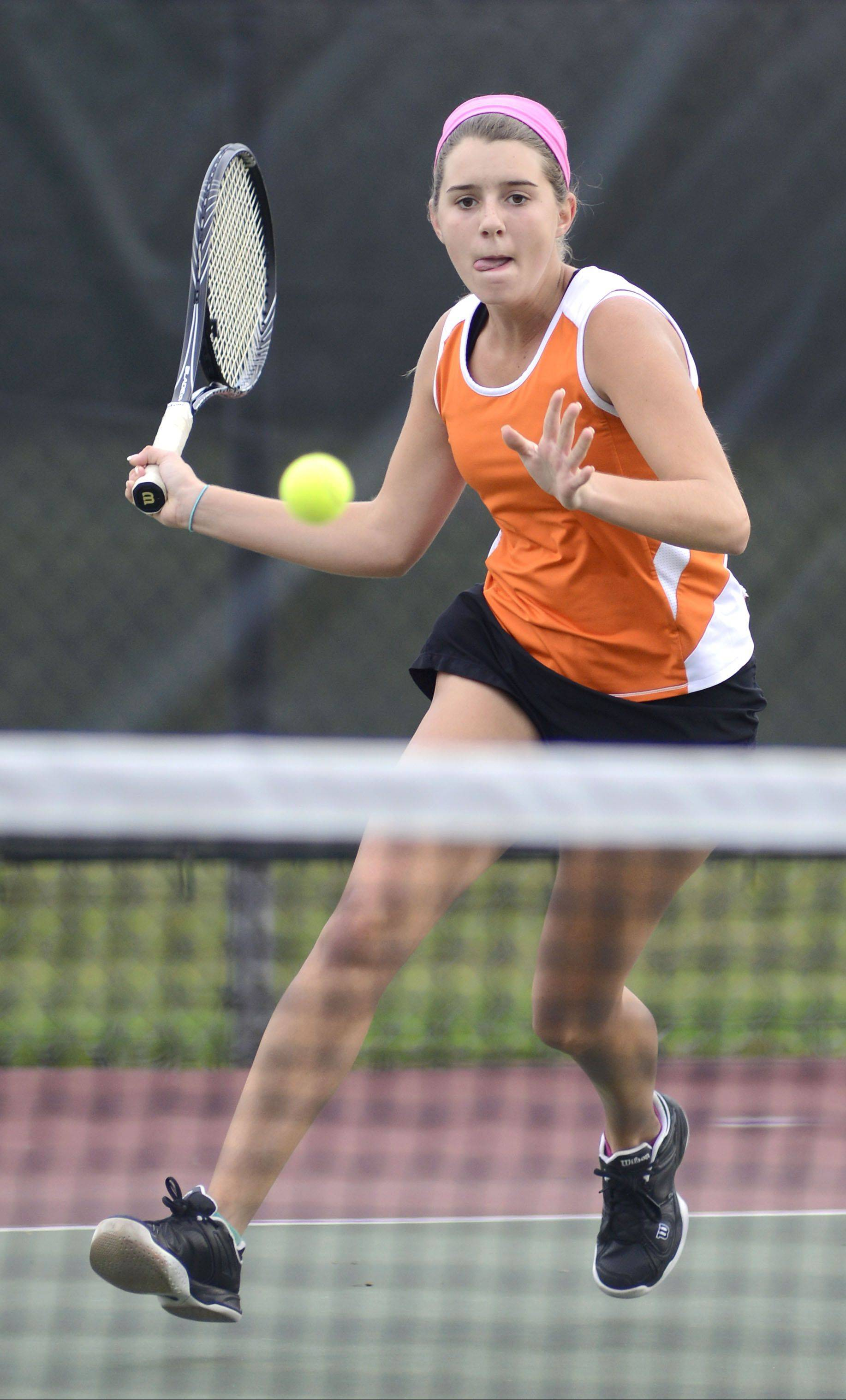 St. Charles East's Jaci Spoerl in the second singles championship game at the Upstate Eight Conference in Geneva on Saturday, October 12.