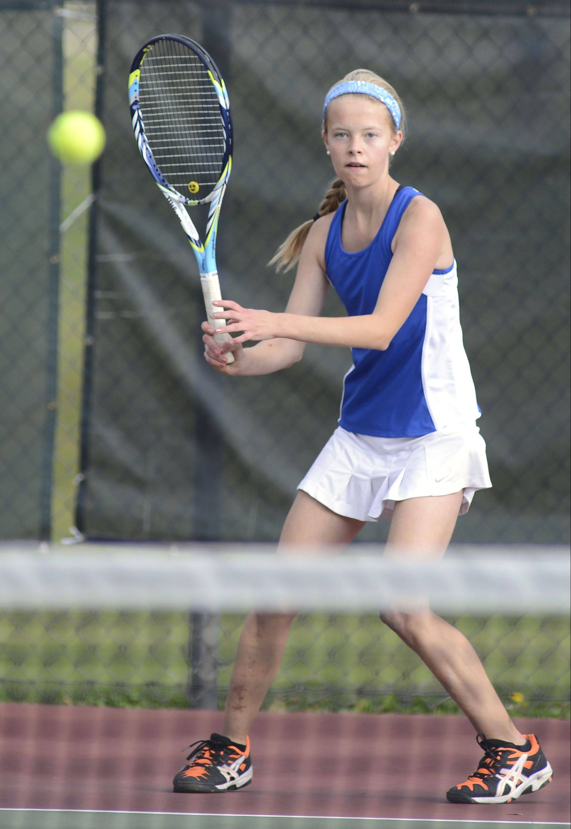 Geneva's Grace Krueger in the second singles championship game at the Upstate Eight Conference in Geneva on Saturday, October 12.