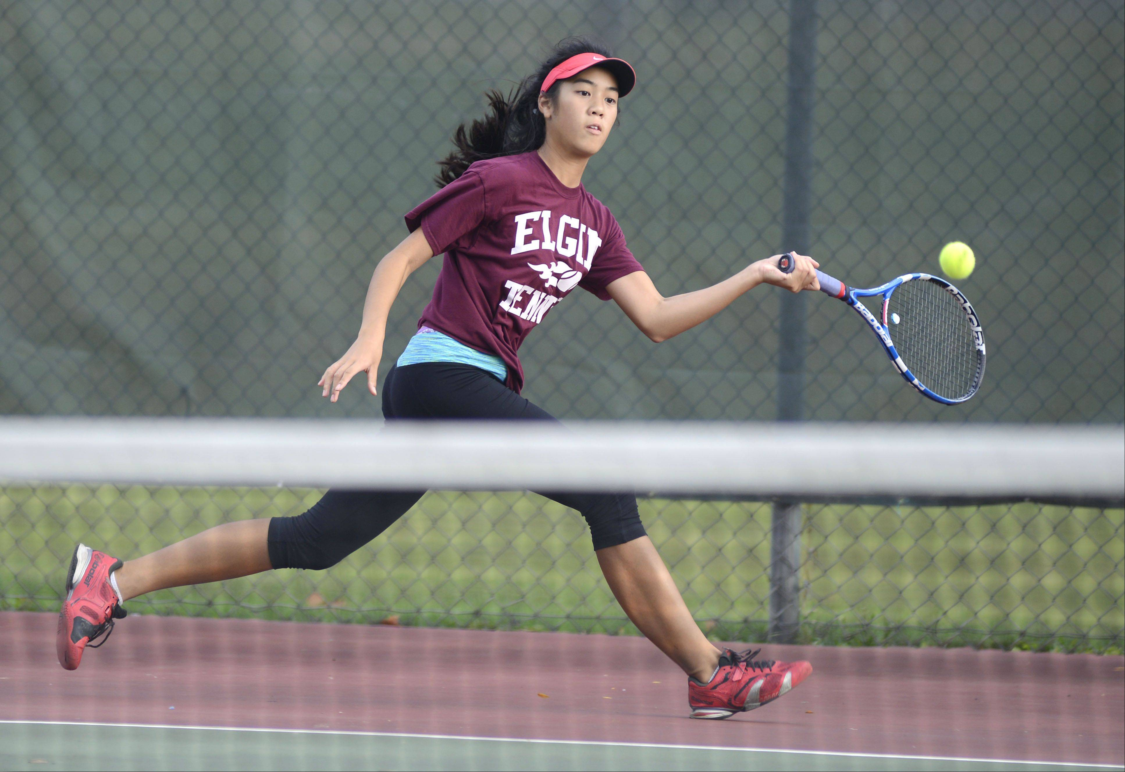 Elgin's Dahlia Keonavongsa in the first singles final match at the Upstate Eight Conference in Geneva on Saturday, October 12.