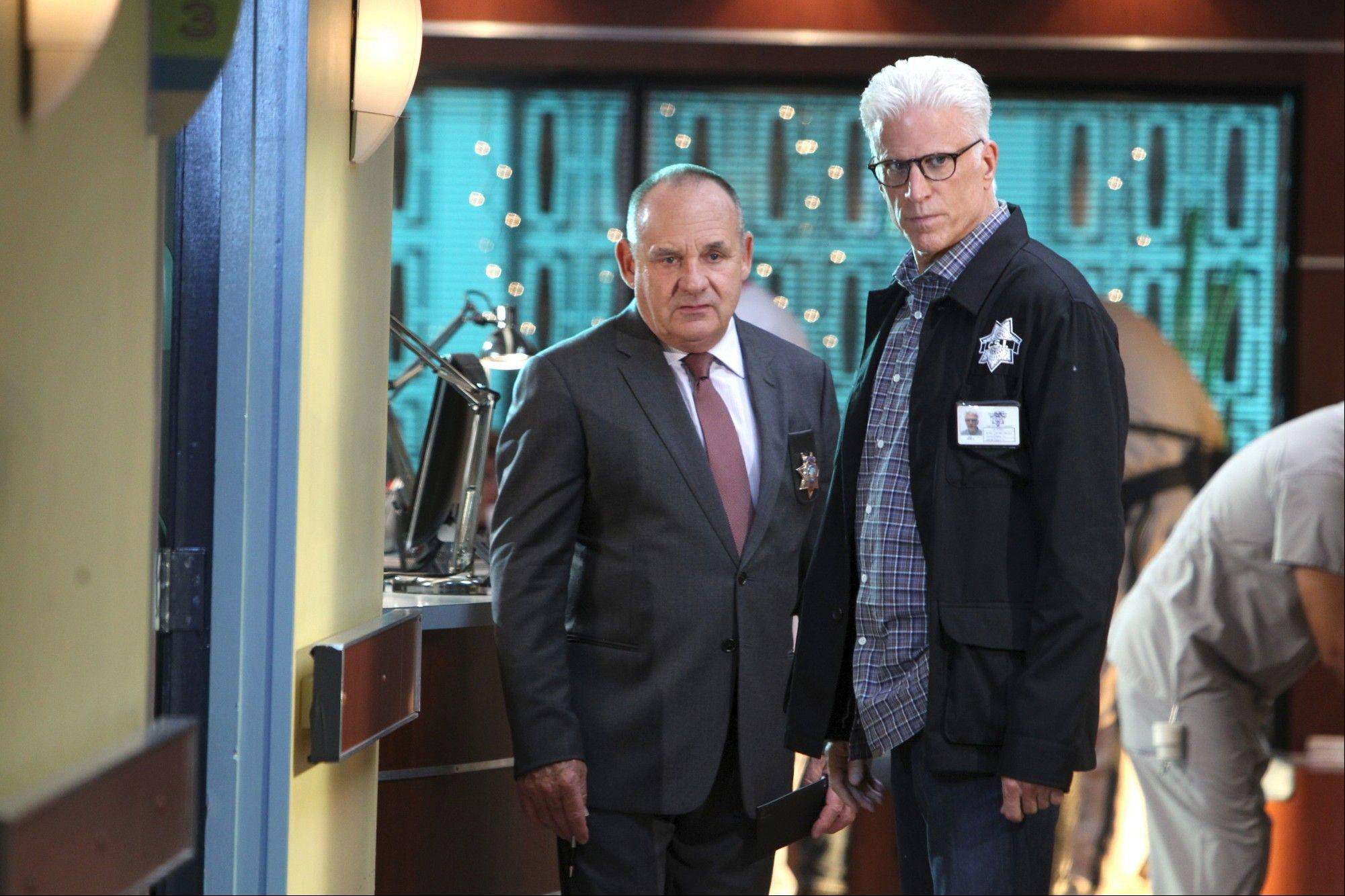 Paul Guilfoyle, left, has been with �CSI: Crime Scene Investigation� from day one, while Ted Danson is in his third season. Both will help mark the CBS show�s 300th episode on Oct. 23.