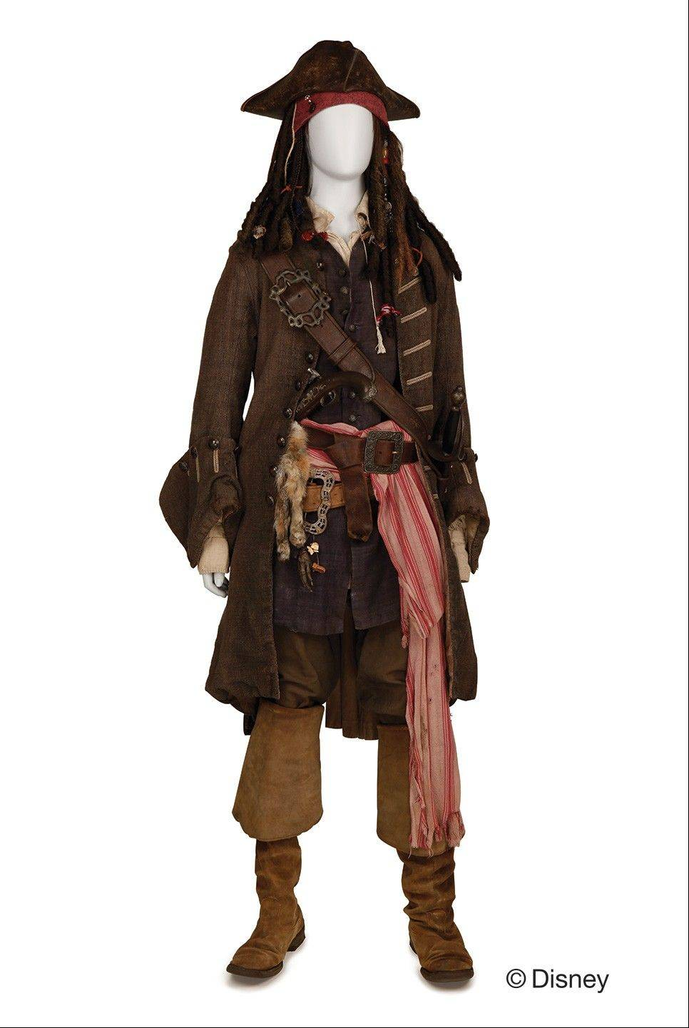 "A Captain Jack Sparrow costume worn by Johnny Depp in the ""Pirates of the Caribbean"" film franchise is on display at the Museum of Science and Industry in Chicago."