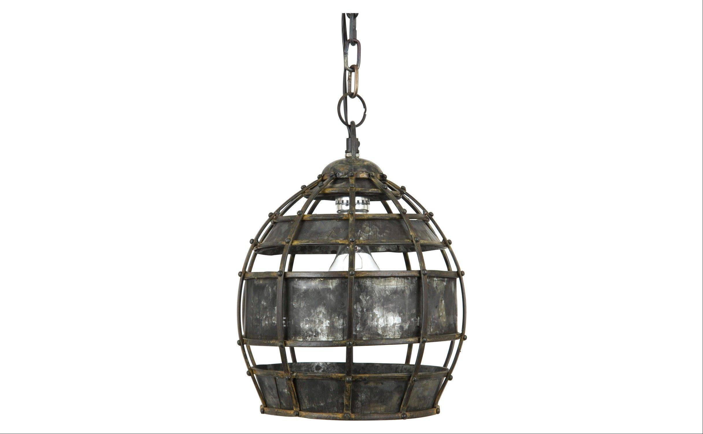 This Ludlam pendant lamp, with its cage of riveted metal, has a modernized, industrial look.