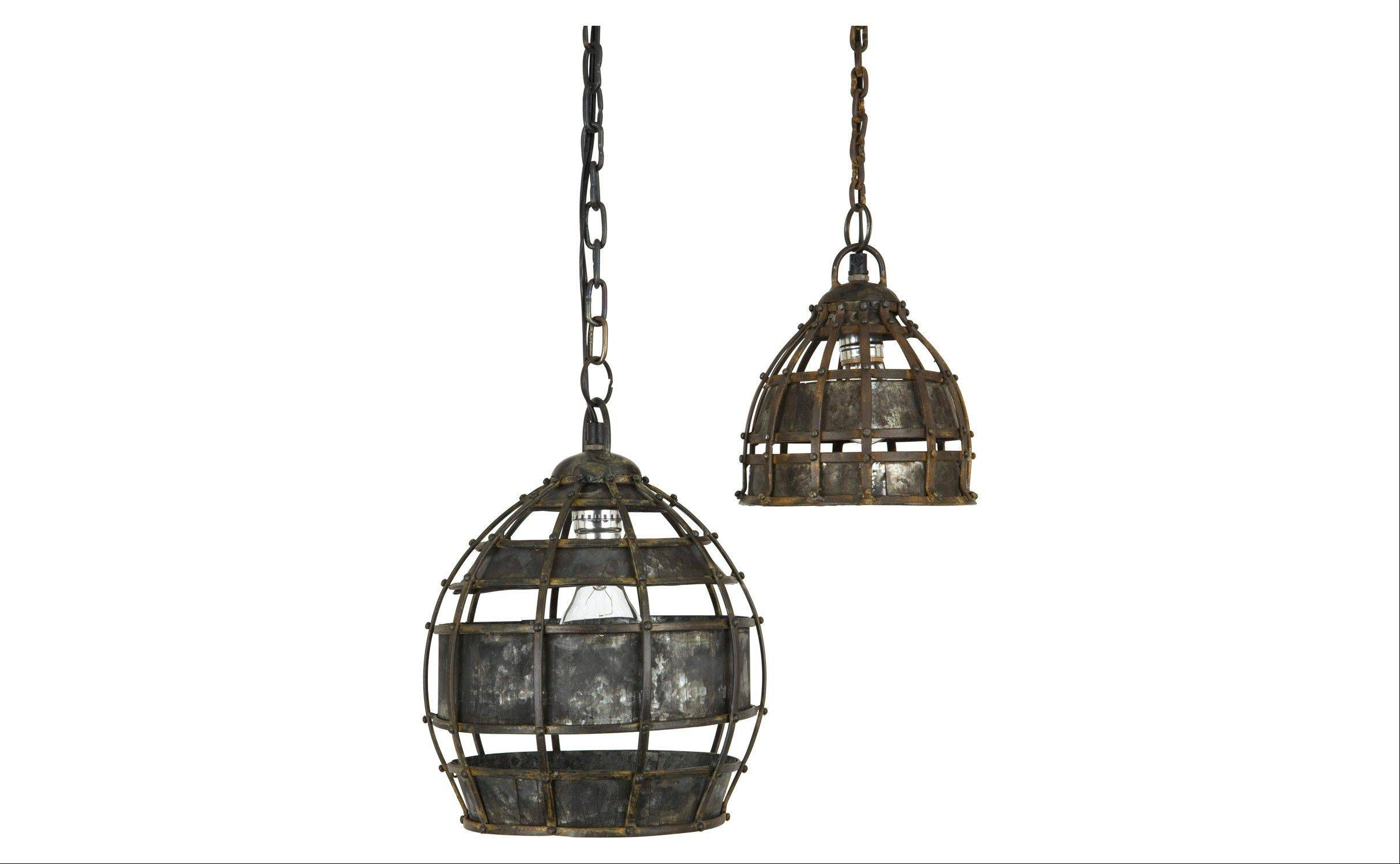 Ludlam pendant lamps. The cage of riveted metal gives the light fixtures an industrial look.