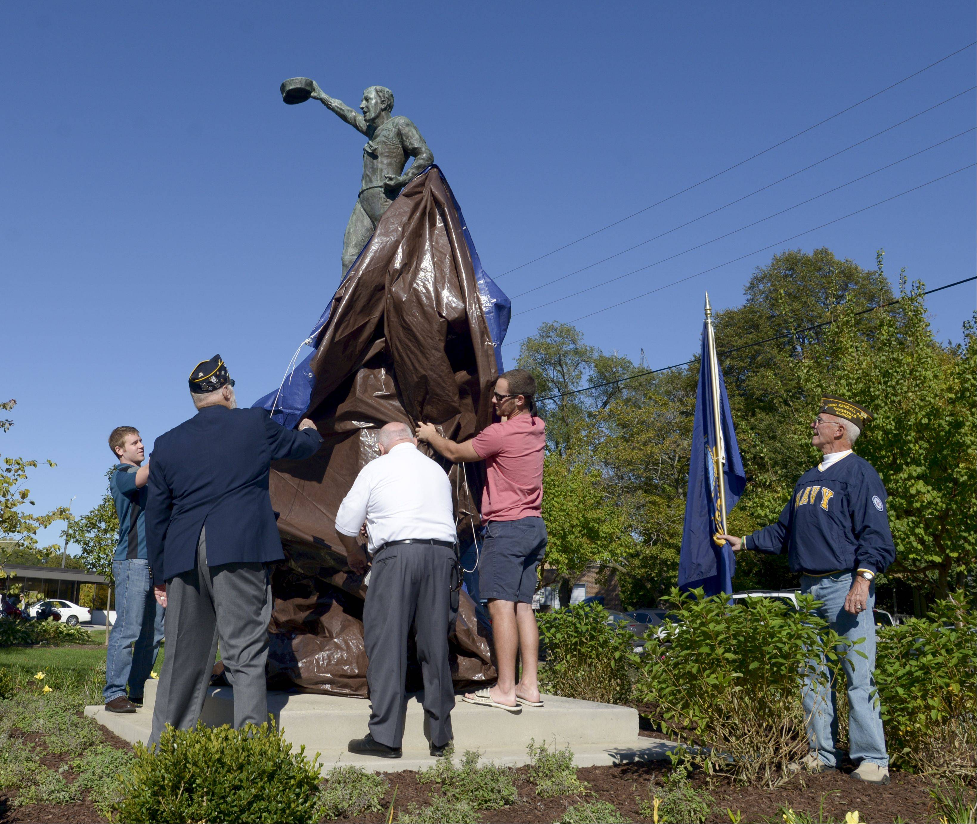 "The ""Spirit of the American Navy"" is unveiled Sunday in Burlington Square Park in Naperville."