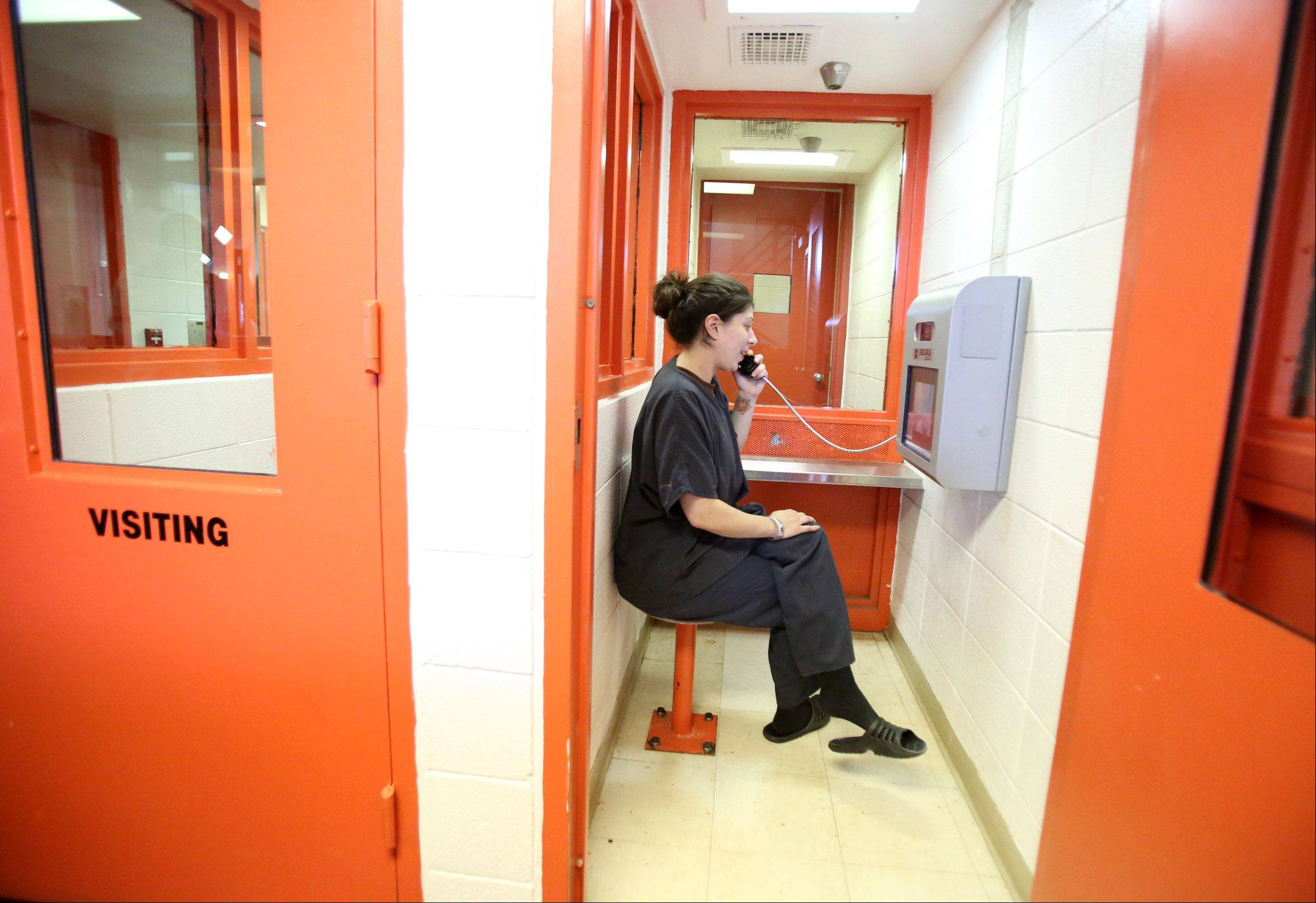 "During her six weeks as an inmate at the Lake County jail in Waukegan, Beth Coleman, of Zion, was one of the 640 prisoners allowed to use the jail's video conferencing center. The county charges family members $25.95 to access the system. ""Anything that increases access for inmates to the outside world and their immediate family is a win,"" Lake County Sheriff Mark Curran said."