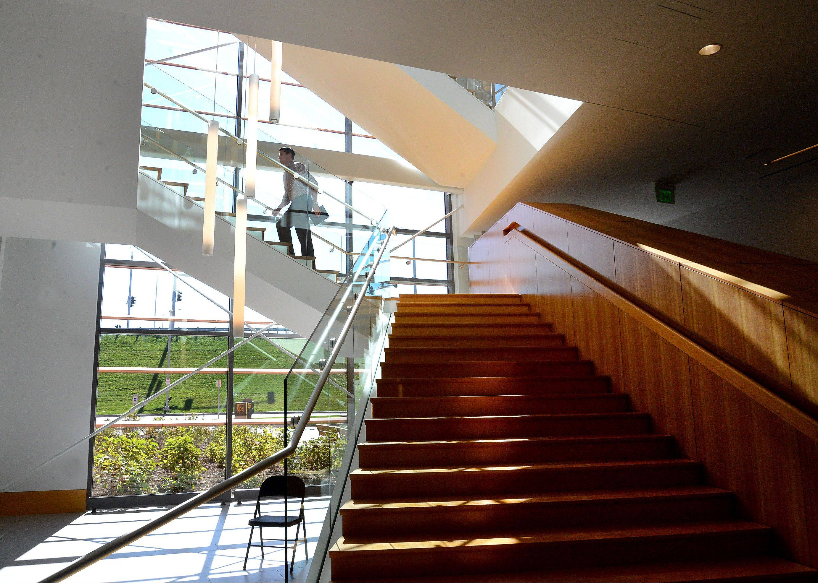 A staircase leads to the second floor of the Big Ten Conference's new headquarters in Rosemont. The building includes meeting space for conference officials, offices and a video room.
