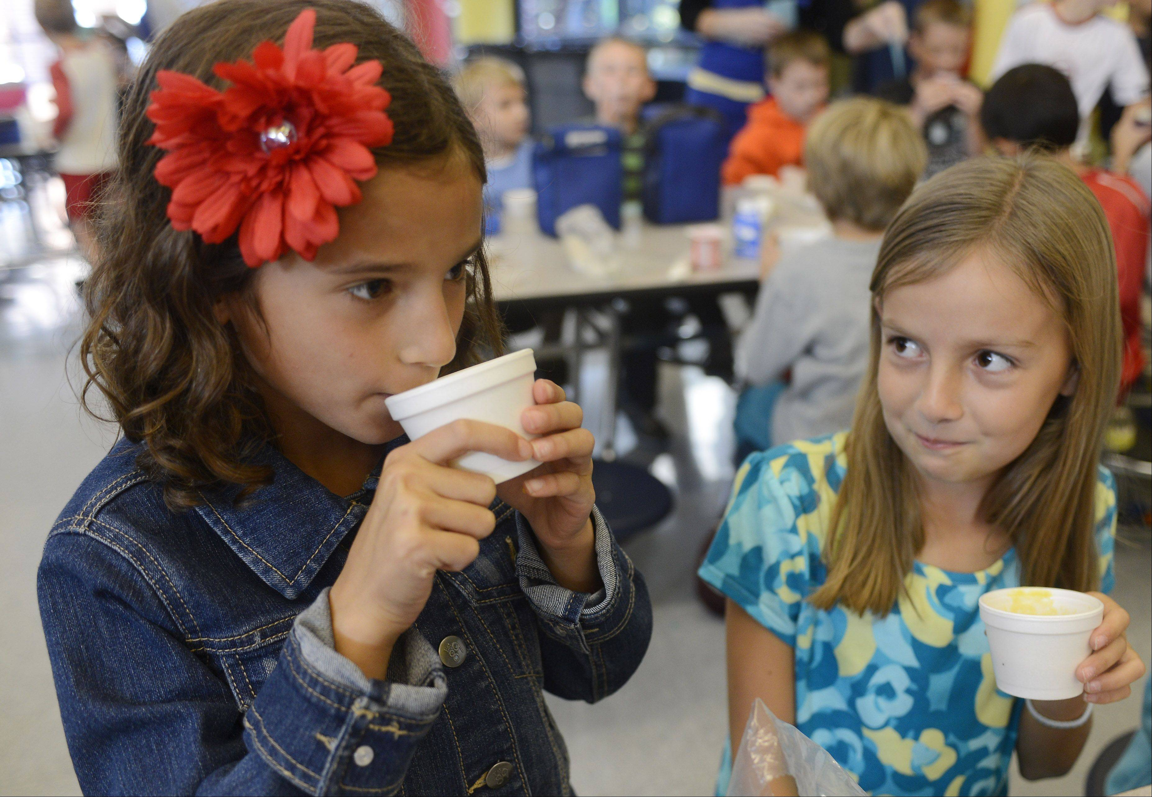 Allie Biewenga, right, lets Livia Salituro have the first taste. Students pronounced their homegrown soup delicious.