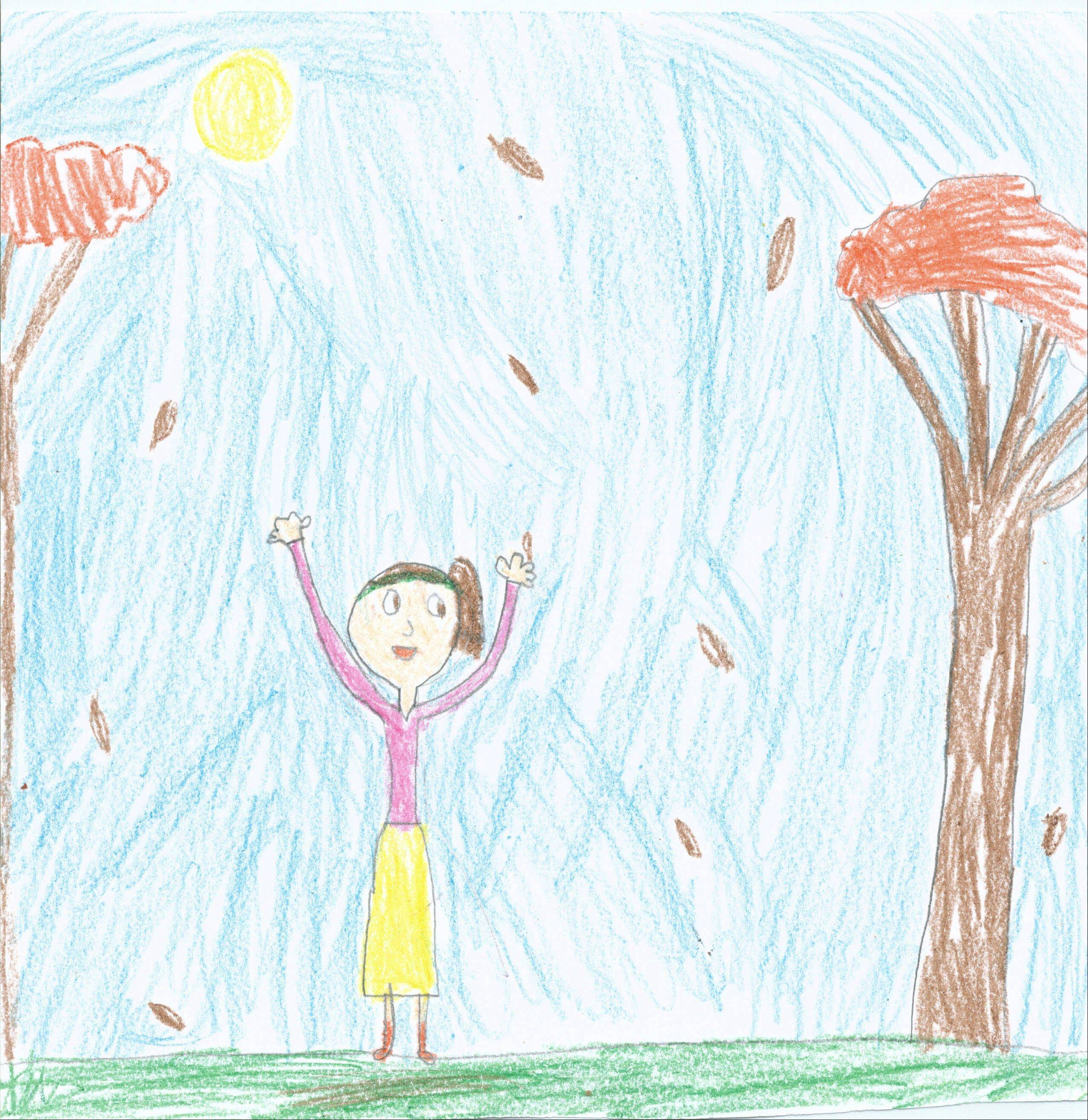 "Rachel Cornille, 7, attends Bell Graham Elementary School in St. Charles. ""The leaves were fallingLike ocean waves. But as cold as ice cubes. There was a leaf as short as my eraser,Leaves as sharp as a porcupineThe wind blowing theleaves like crazy.It looks as cool as a race carAnd as pretty as a flowerAl light as the sun.As quiet as a mouseI think fall is cool."""