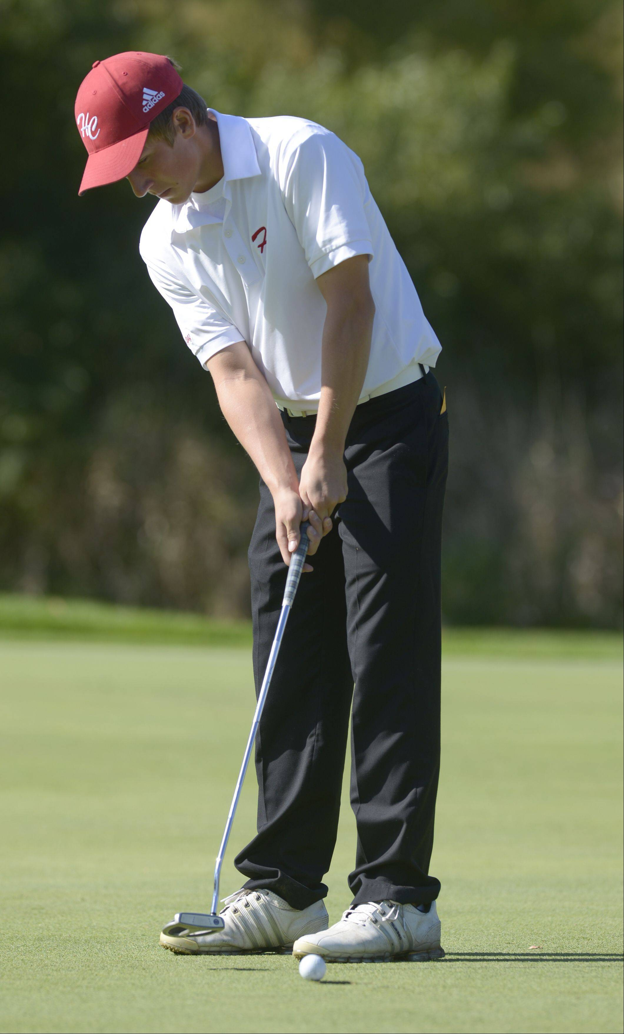 Mark Black/mblack@dailyherald.comDrew Shepherd of Hinsdale Central putts during the Class 3A Naperville Central sectional boys golf tournament, Monday at Springbrook Golf Course in Naperville.