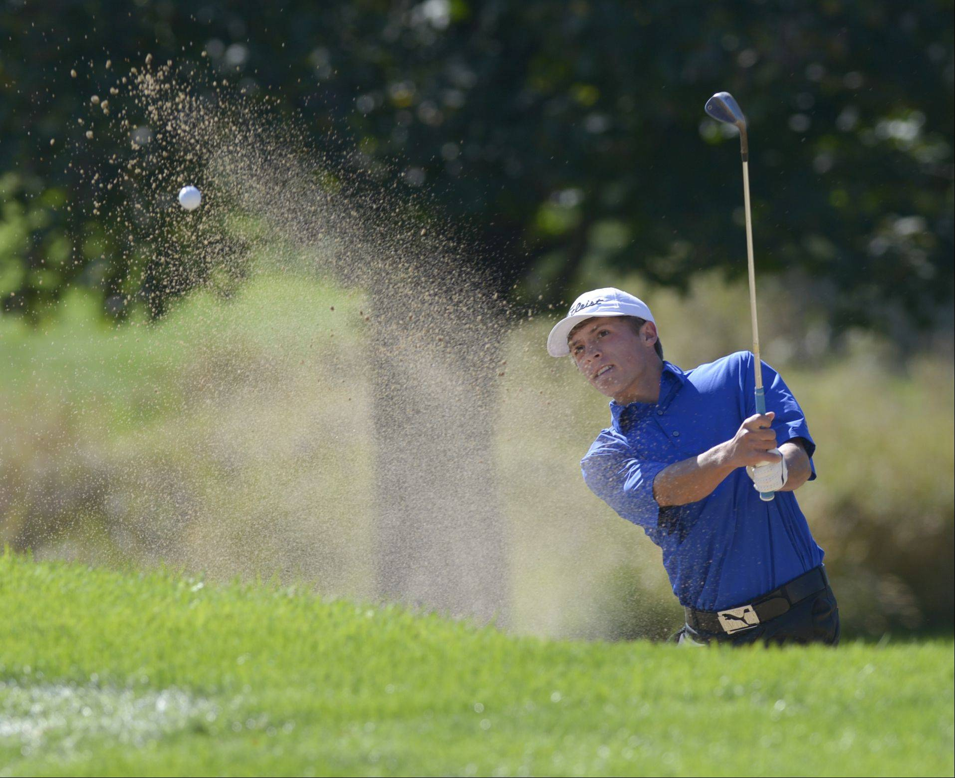 Mark Black/mblack@dailyherald.comMatt Walsh of Lyons Township chips out of the sand during the Class 3A Naperville Central sectional boys golf tournament, Monday at Springbrook Golf Course in Naperville.