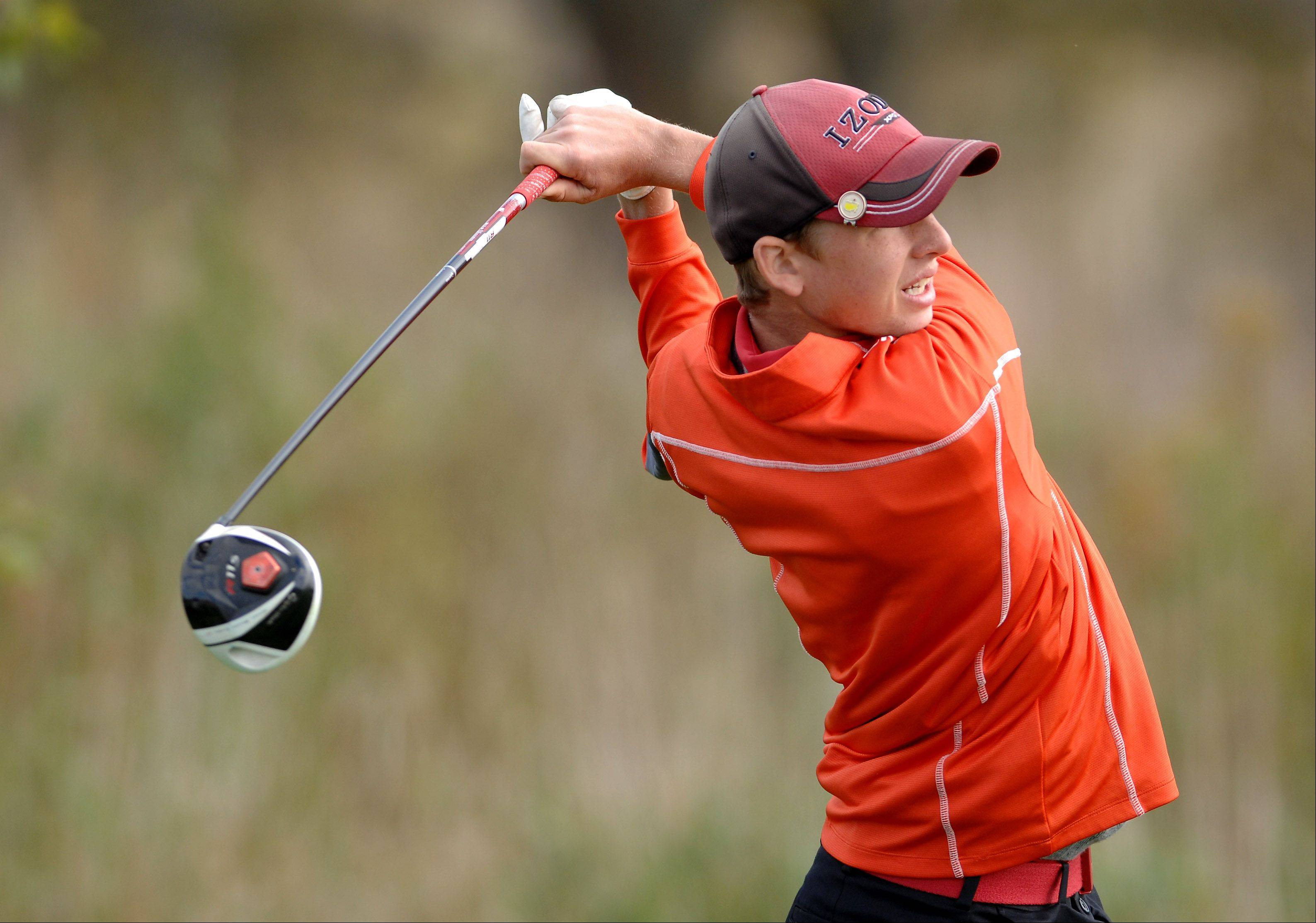 Brad Spoeth of Huntley tees off during the Huntley boys golf sectional at Blackstone Golf Club in Marengo.