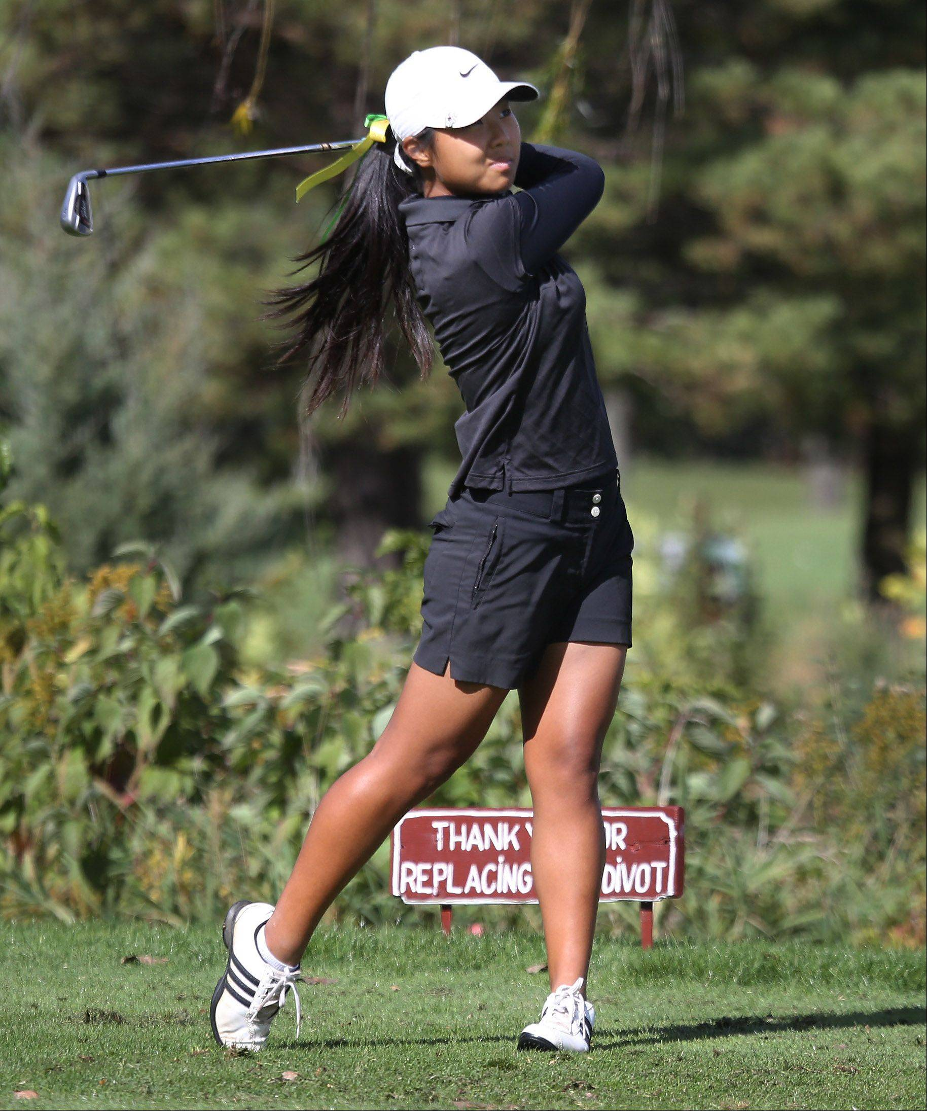 Fremd golfer Jennifer Kim tees off on the 17th hole during the Buffalo Grove sectional Monday at the Buffalo Grove Golf Course.
