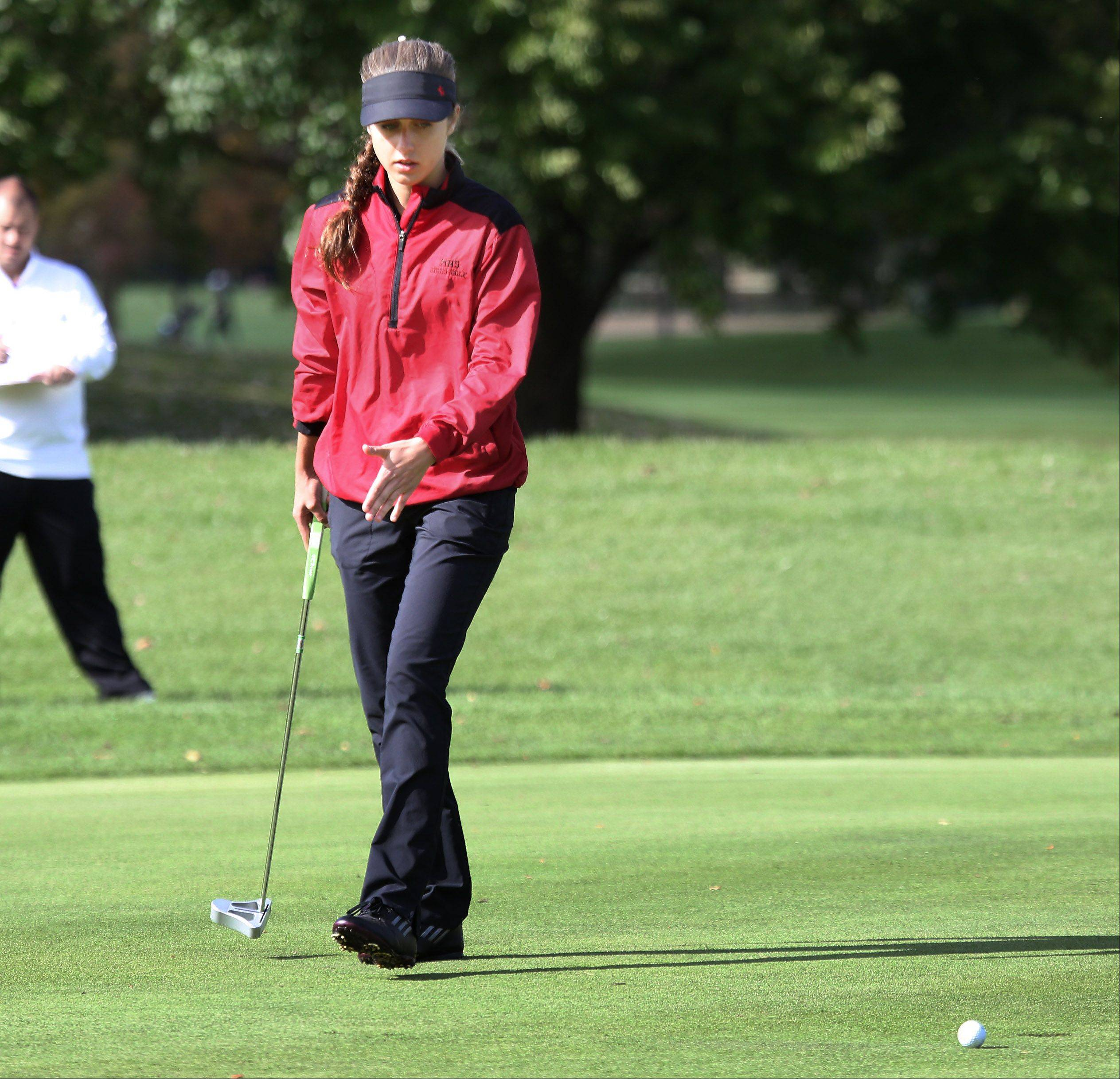 Mundelein golfer Courteney Fabbri talks to herself after missing the putt on the third hole during the Buffalo Grove sectional on Monday.