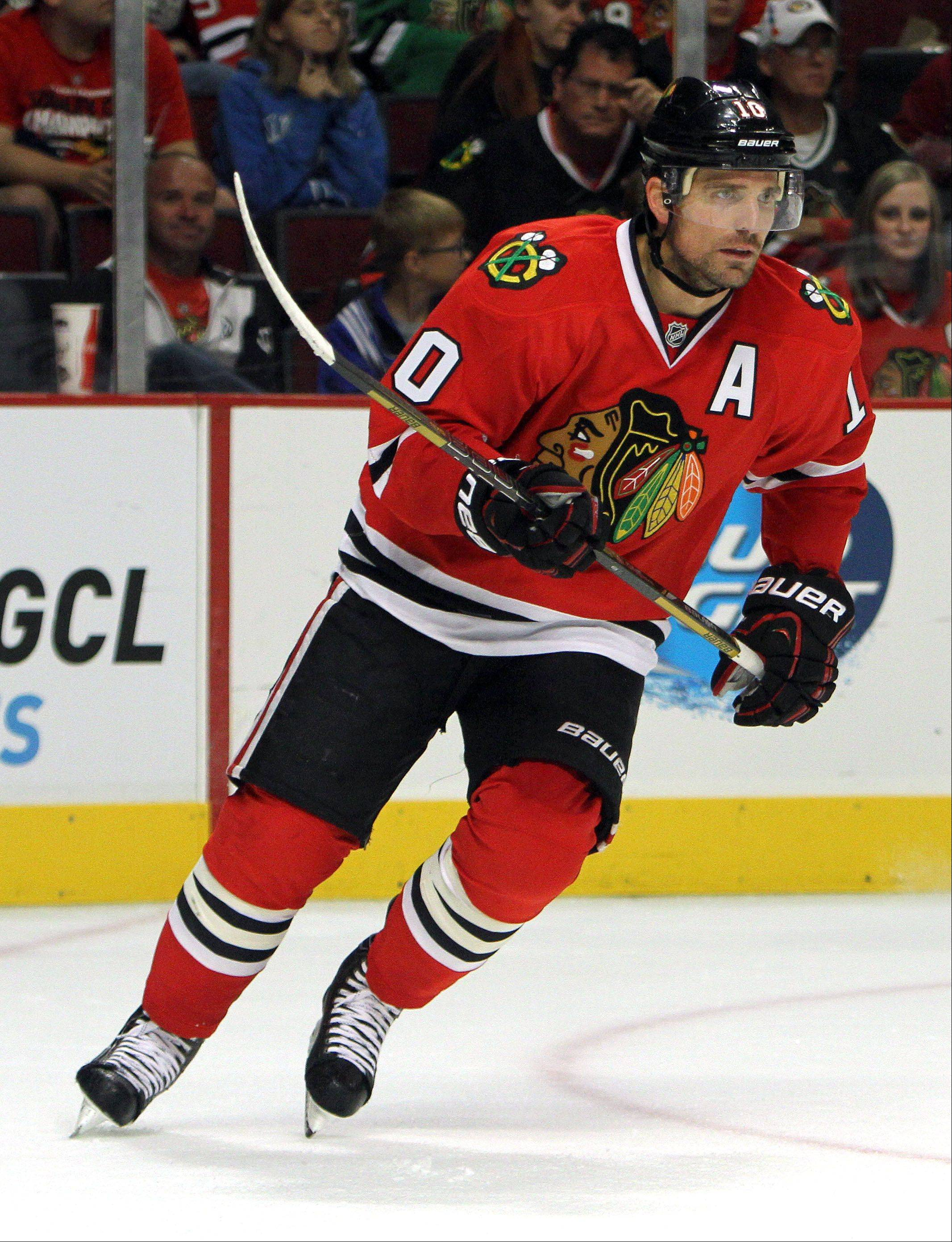 With the birth of his second daughter Sunday, Patrick Sharp, still looking for his first goal, says he has a clear mind and is ready to get back to hockey.