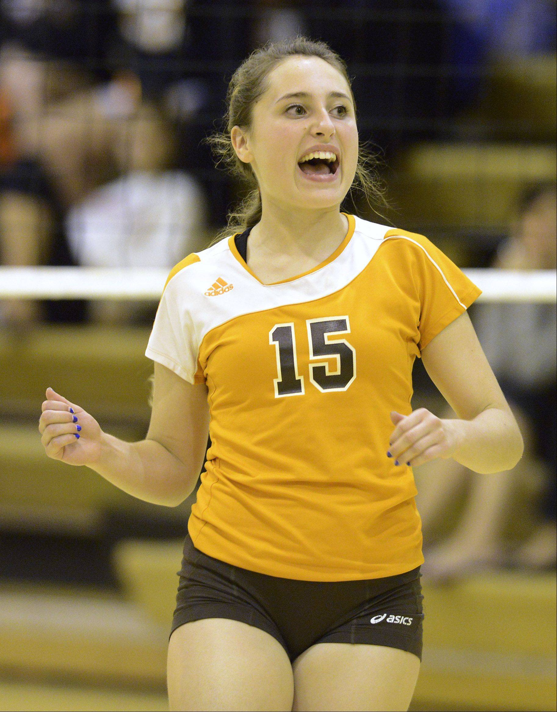 Hersey�s Carly Pisano reacts to her team�s victory over Buffalo Grove on Tuesday.