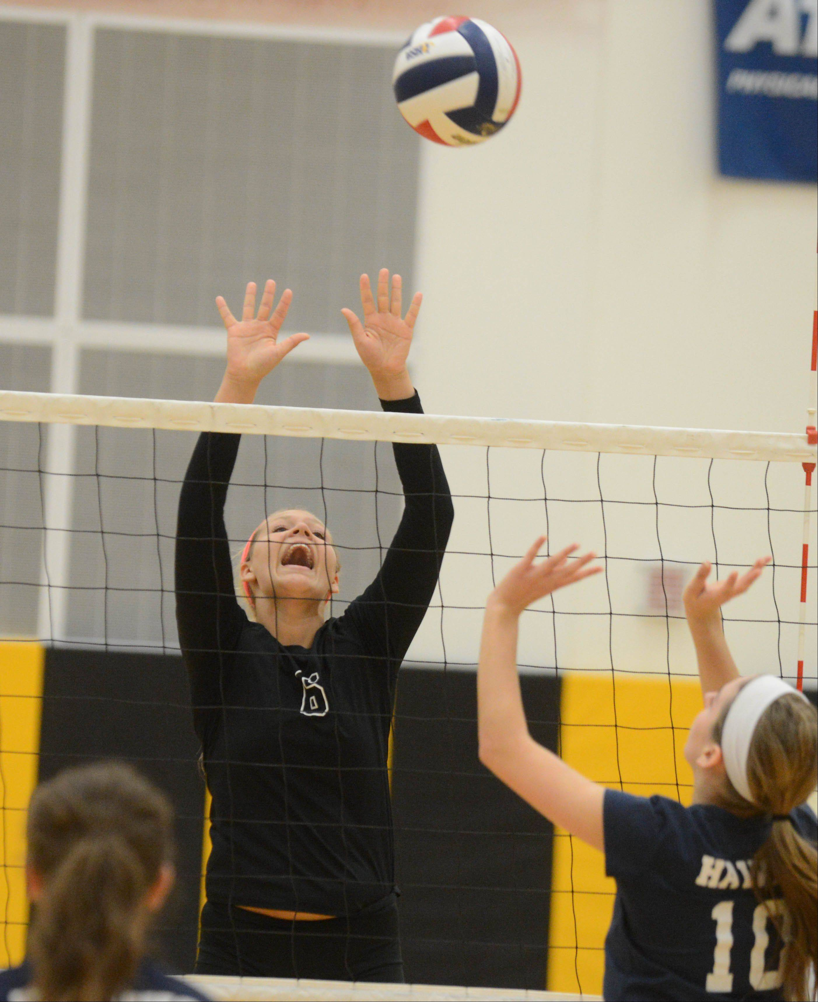 Paul Michna/pmichna@dailyherald.com Nina Tuszynski of Metea Valley goes up for hit during the Bartlett at Metea Valley girls volleyball game Tuesday.