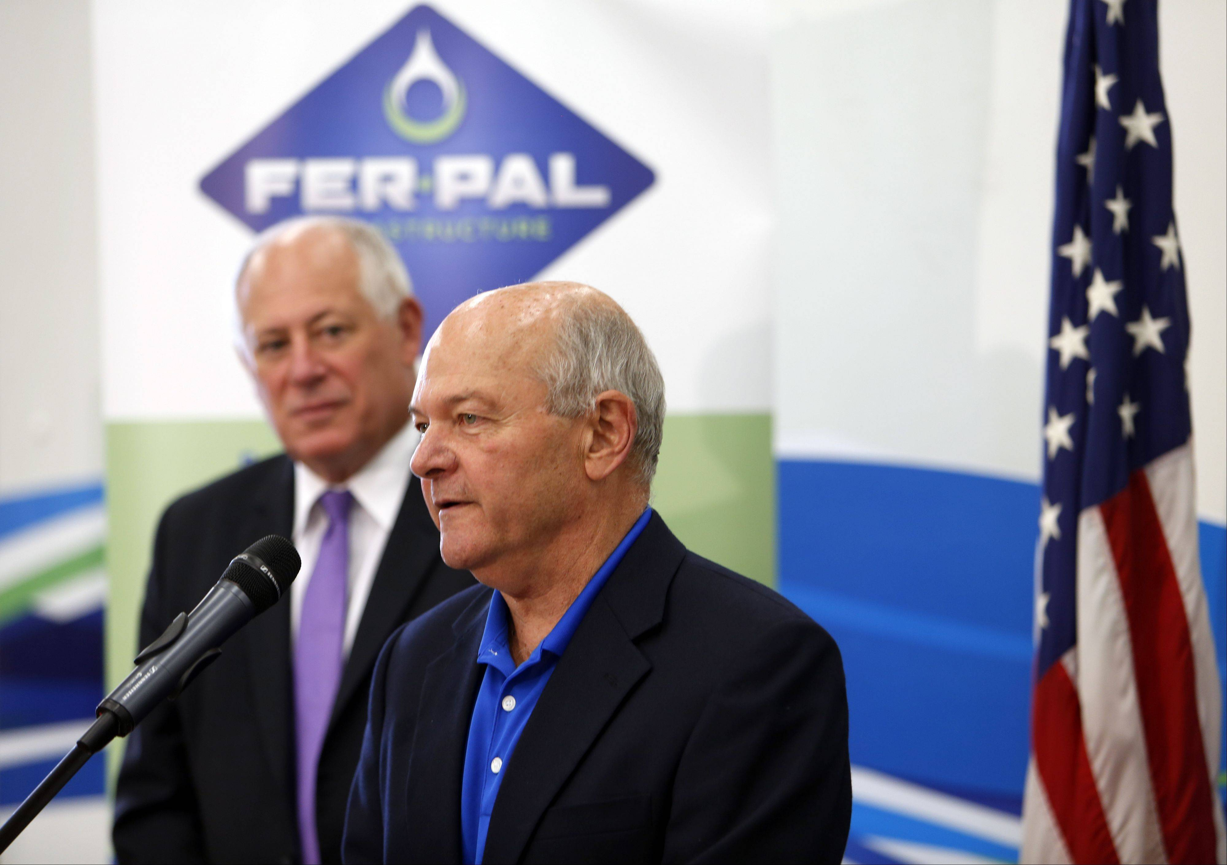 "Elgin Mayor David Kaptain speaks at the ribbon cutting of Fer-Pal's U.S. headquarters. The company works with communities to provide water main rehabilitation services using ""trenchless technology."""