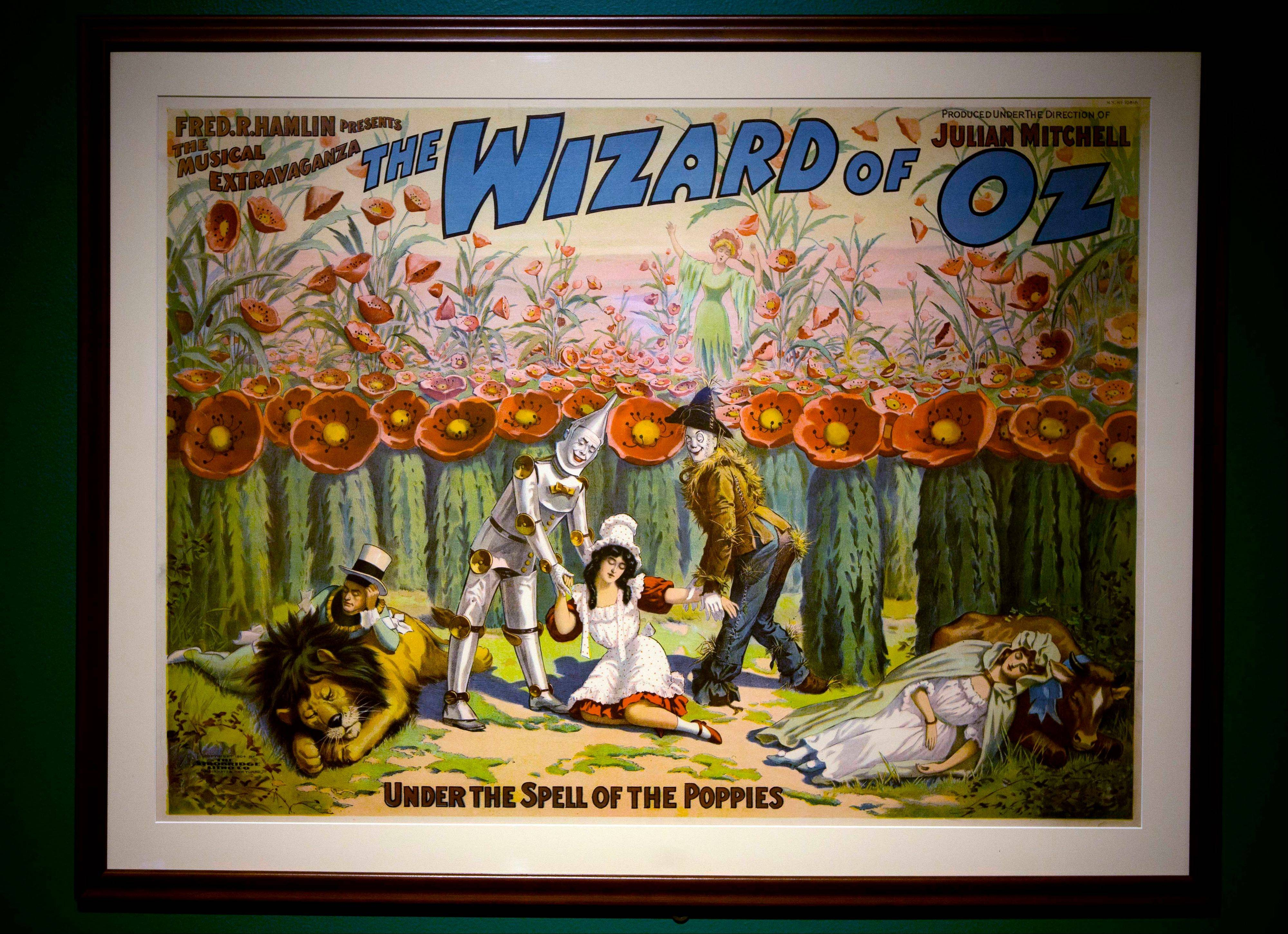 "A poster from the movie ""The Wizard of Oz"" hangs at the Farnsworth Museum, in Rockland, Maine. The world's largest collection of materials from the movie is being exhibited a few months after the release of a prequel to the original film."