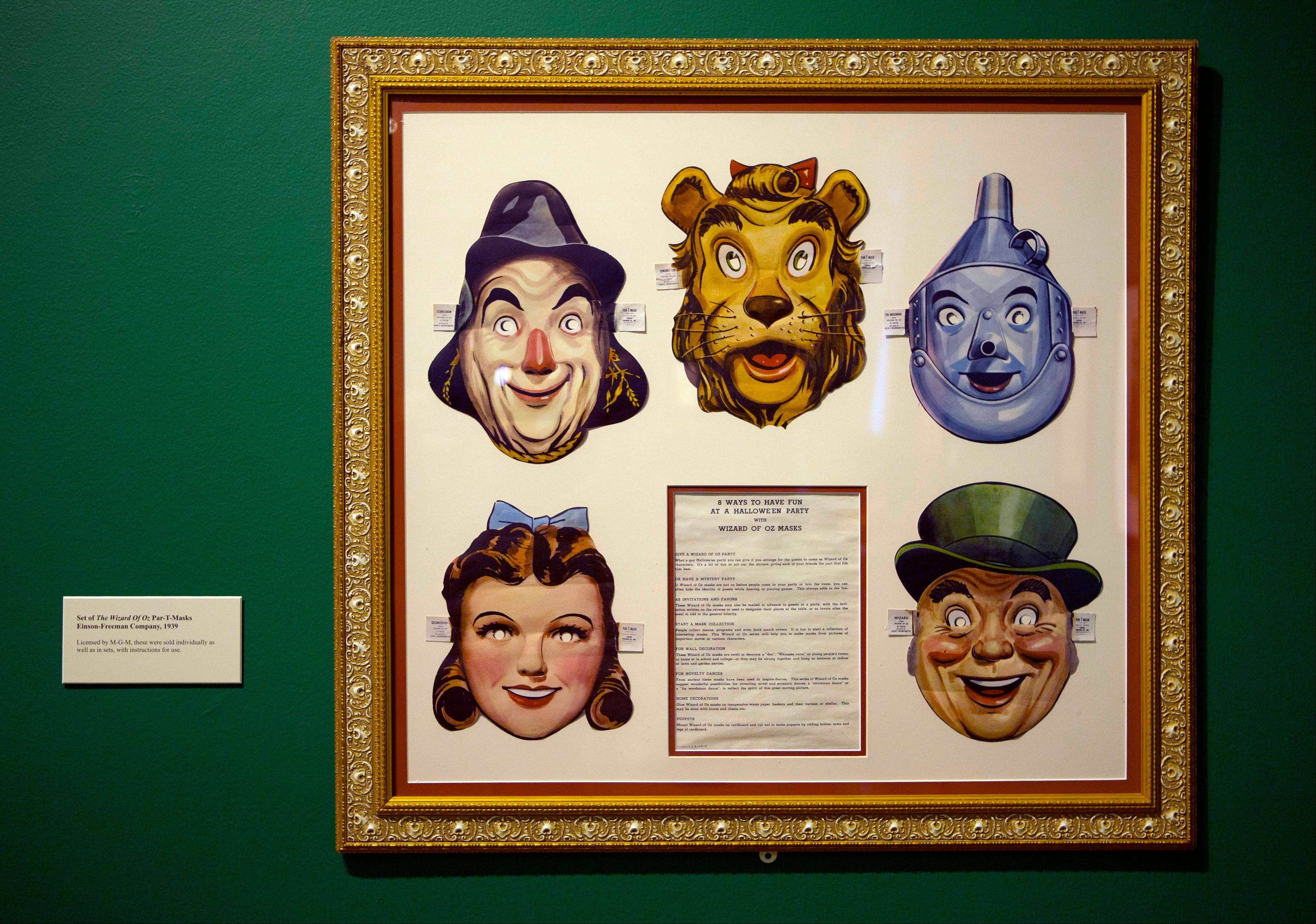 "A set of masks of characters in the movie ""The Wizard of Oz"" is displayed at the Farnsworth Museum, in Rockland, Maine."