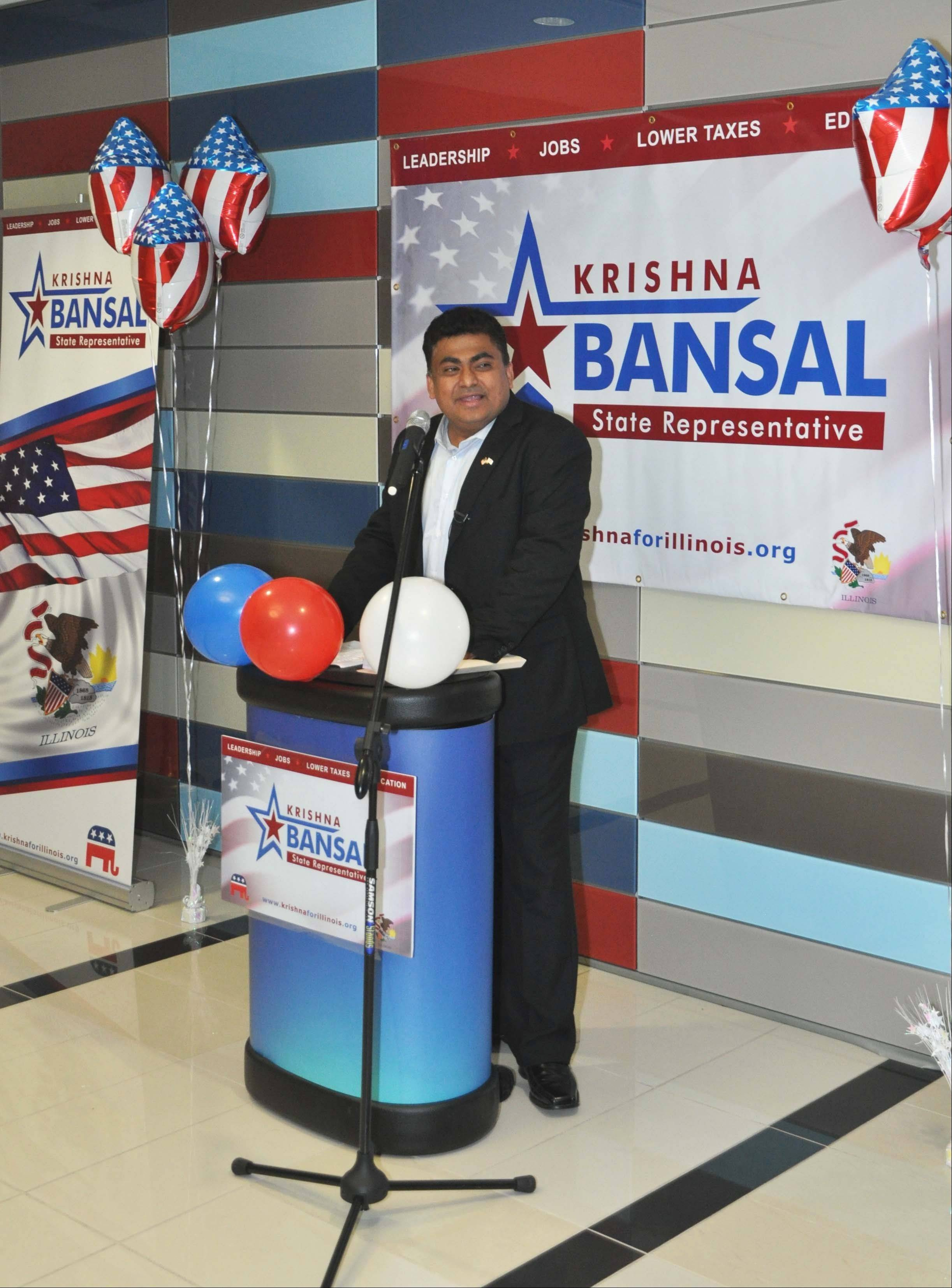 Naperville businessman Krishna Bansal, 43, announced Saturday he is running as a Republican for the 84th District state House seat.