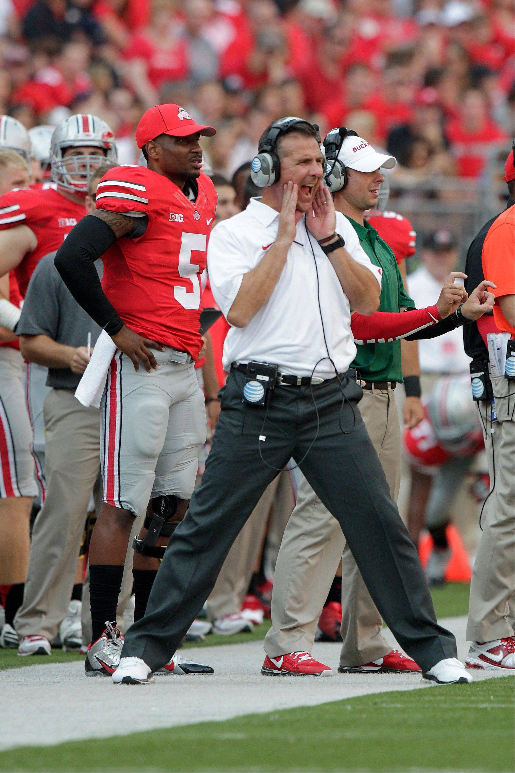 Ohio State head coach Urban Meyer watches from the sidelines during a game against San Diego State earlier this season in Columbus, Ohio. The Buckeyes have won 18 straight.
