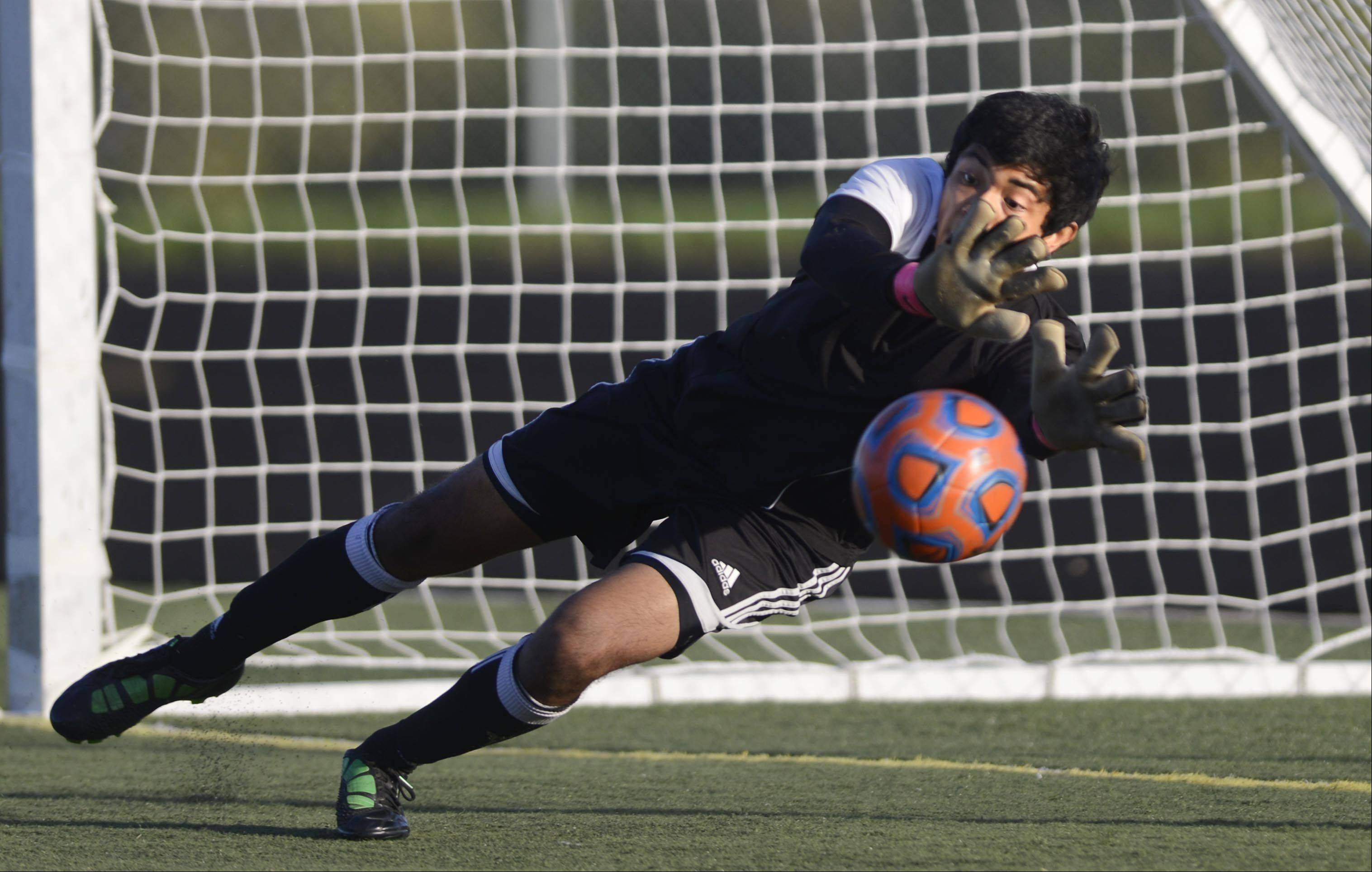 Streamwood's Larkin goalkeeper Javy Delgado can't reach a goal kick by Streamwood's Christian Vences Monday in Streamwood.