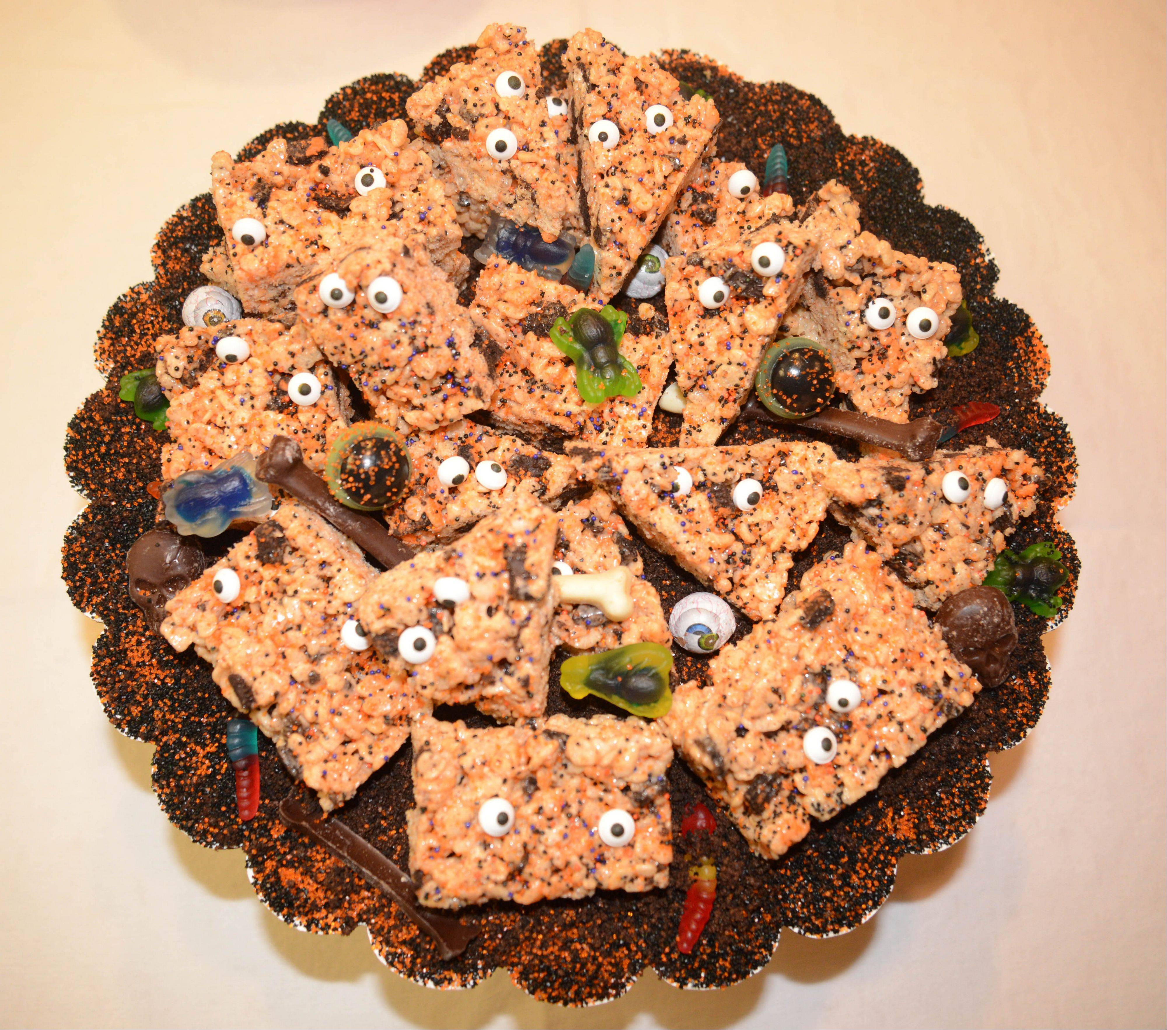 Annie Overboe dresses up rice crispy treats for Halloween.
