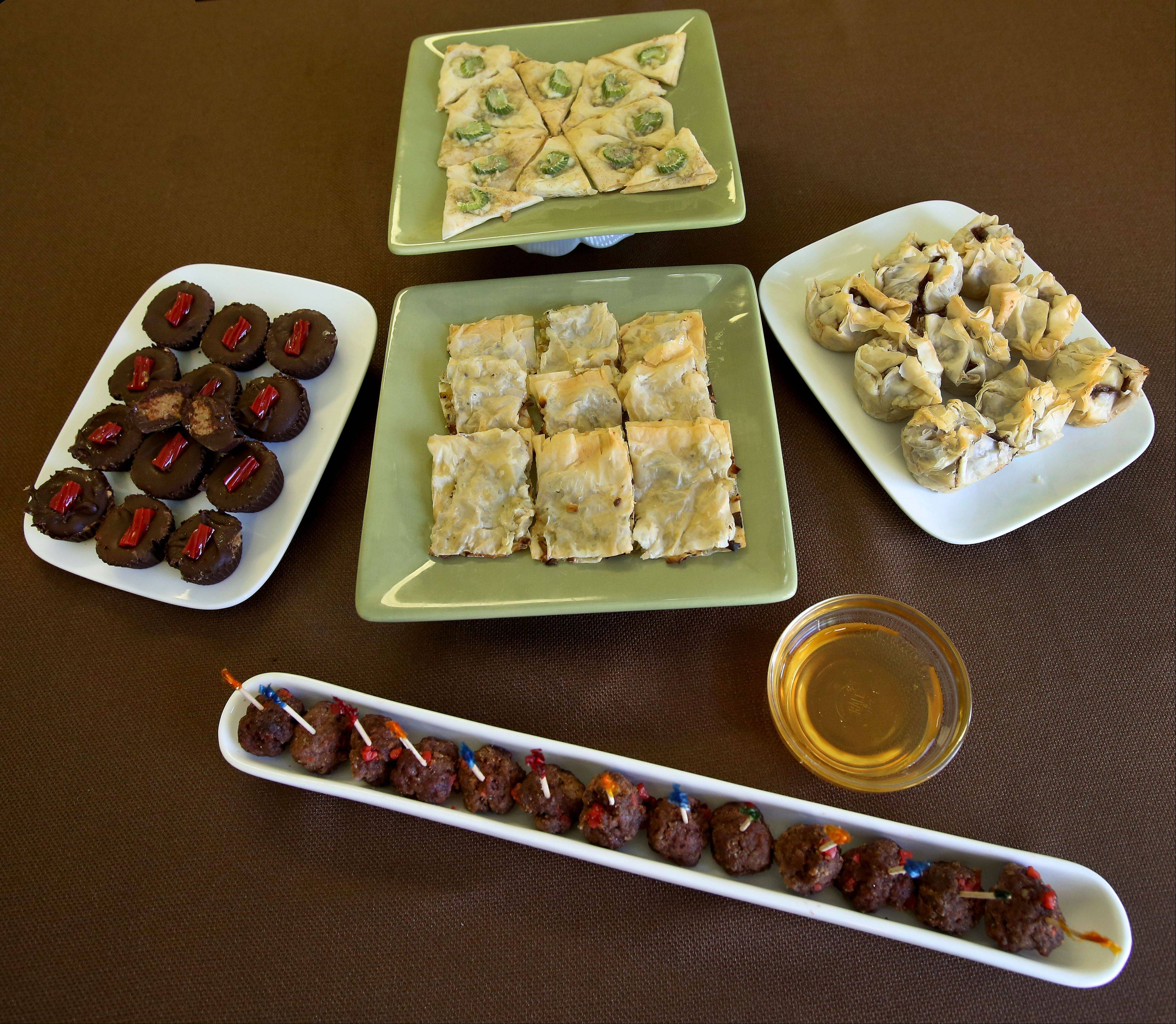 Judy Monaco worked Twizzlers, almond butter, celery and phyllo dough into an imaginative spread that included Mini Meatballs with a Sweet Twist, Almond Butter Cups, Blue Cheese Tasters, Savory Appetizer Bites, Tasty Beef Appetizer.